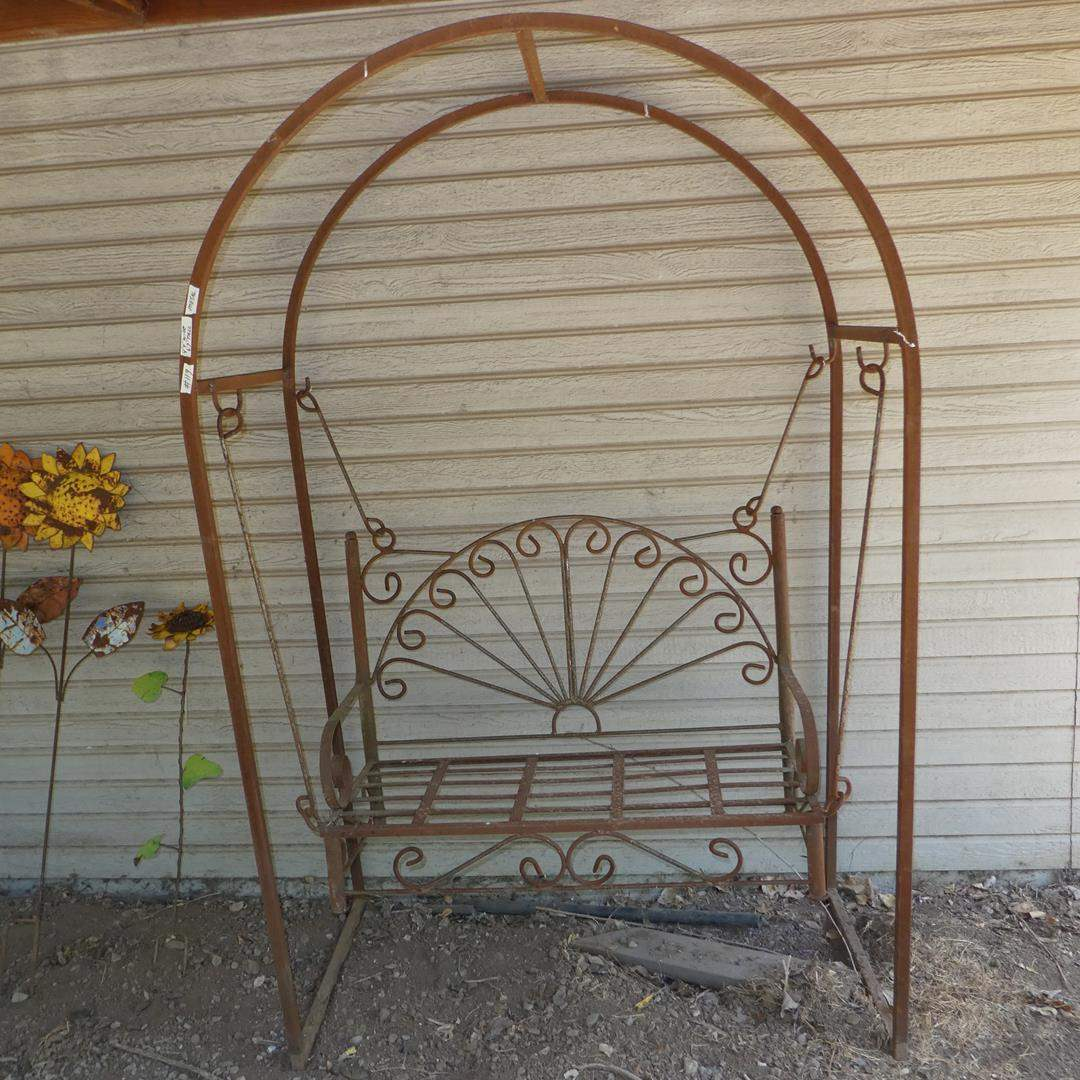 Lot # 119 - Cool Old Metal Swing w/Arch (main image)