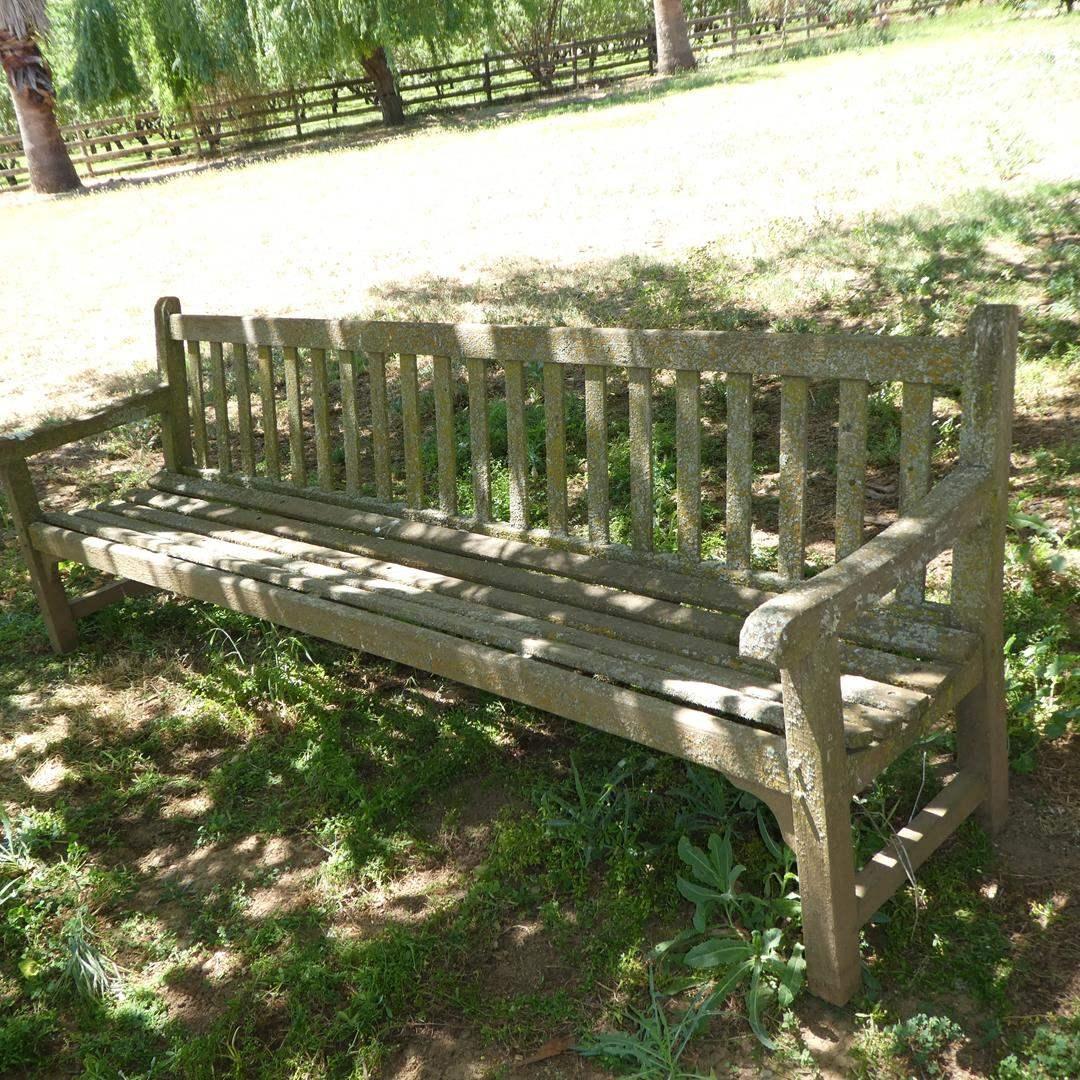 Lot # 122 - Old Distressed Teak Garden Bench - 8' Long (main image)