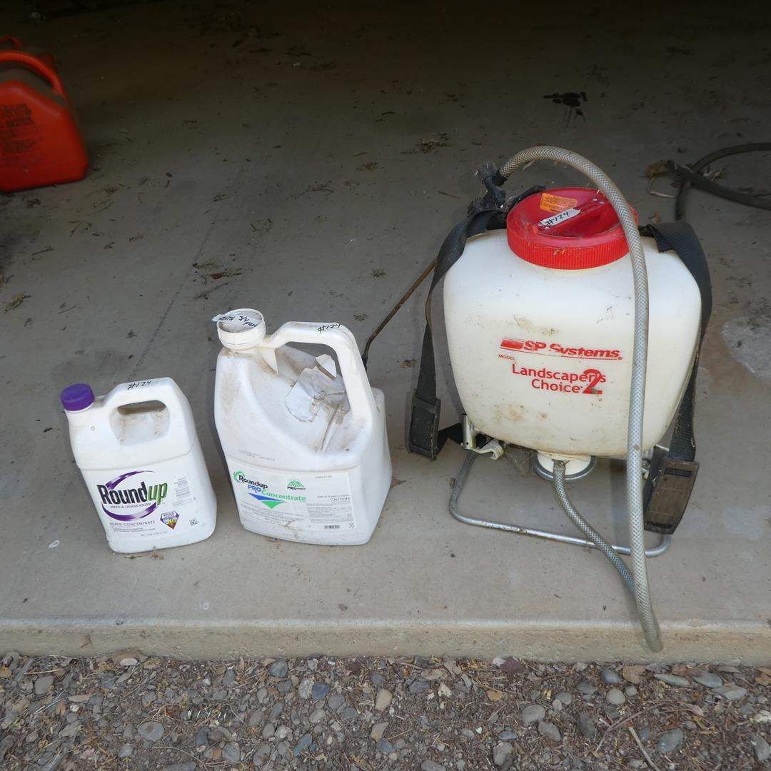 Lot # 124 - Backpack Sprayer & Round Up (main image)