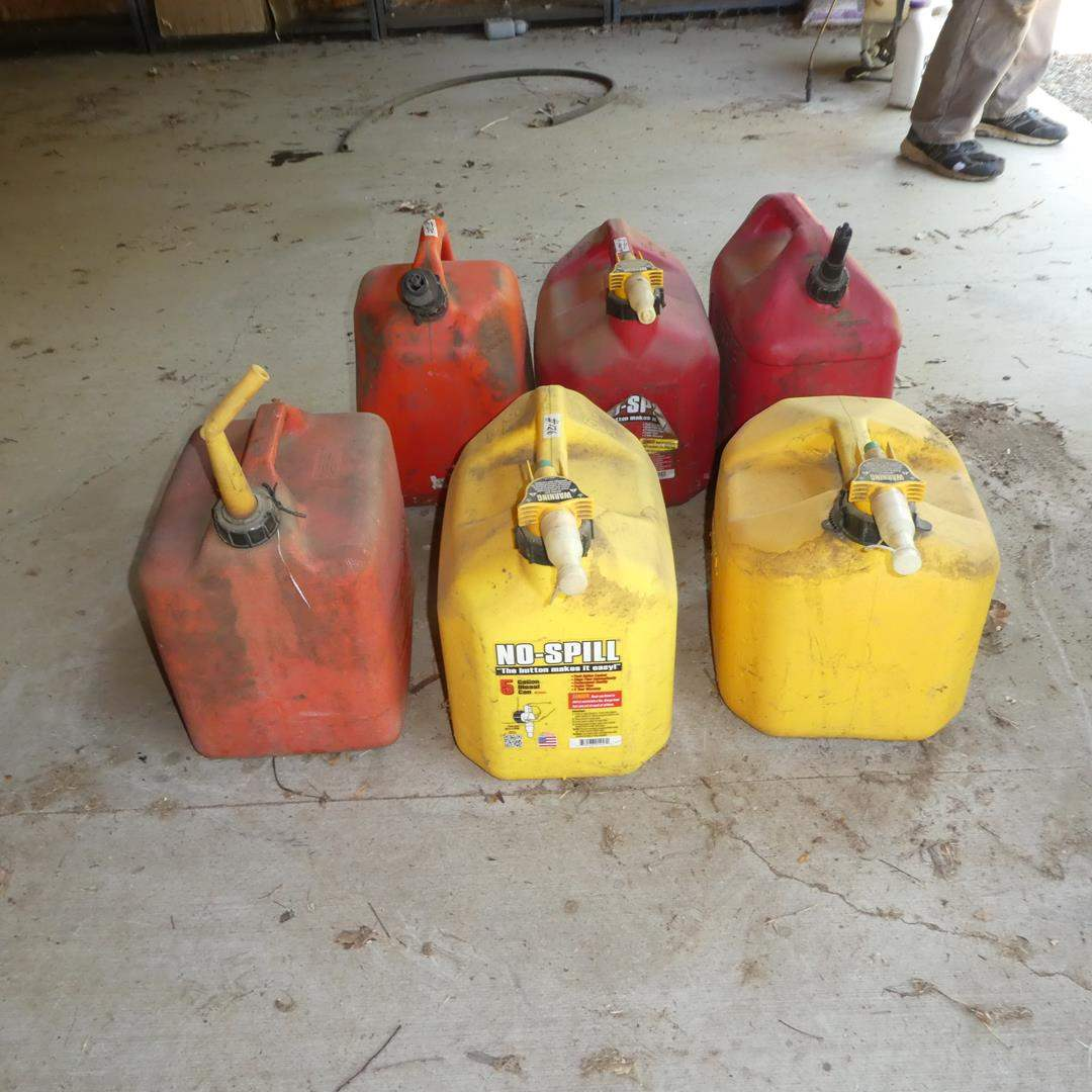 Lot # 126 - 6 Gas Cans - 3 Full & 3 Empty (main image)