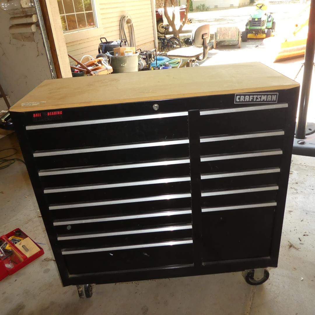 Lot # 129 - Craftsman Tool Chest on Wheels FULL of Misc. Tools (main image)