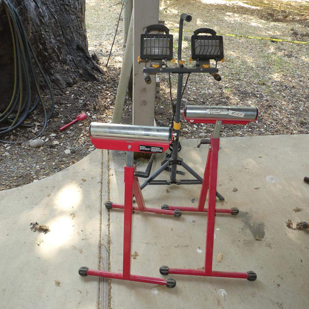 Lot # 137 - Two Adjustable Work Stands & Free Standing Shop Lights (main image)