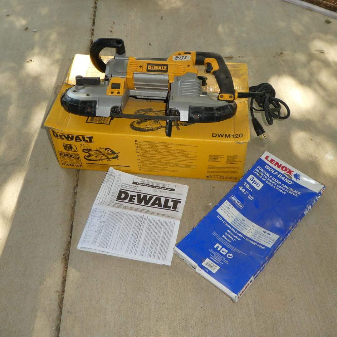Lot # 138 - DeWALT Heavy Duty Deep Cut Variable Speed Bandsaw w/Manual & Extra Blades