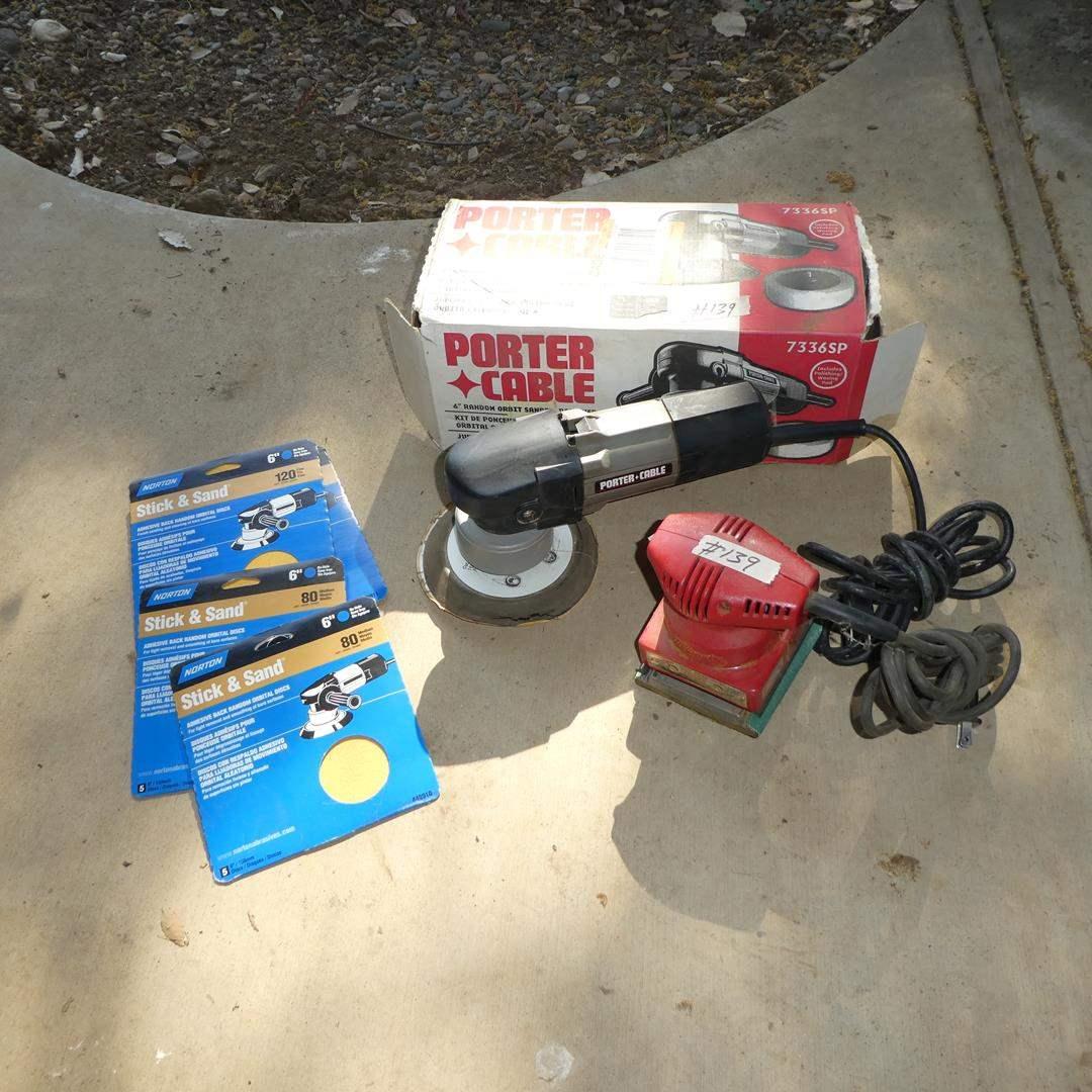 Lot # 139 - Porter Cable Random Orbit Sander, Milwaukee Finishing Sander & Sandpaper