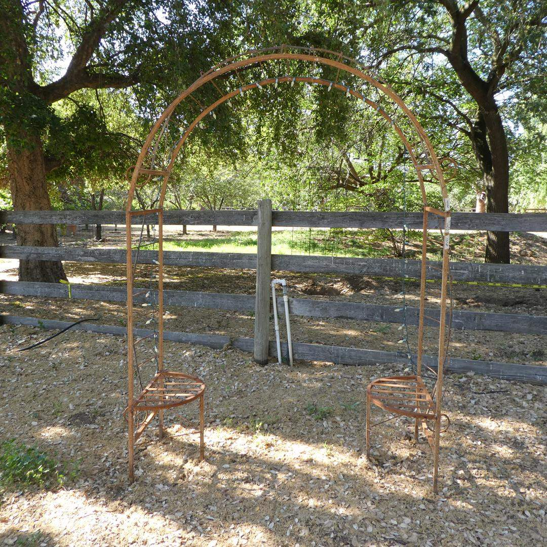 Lot # 141 - Metal Arched Trellis w/Seats on Each Side