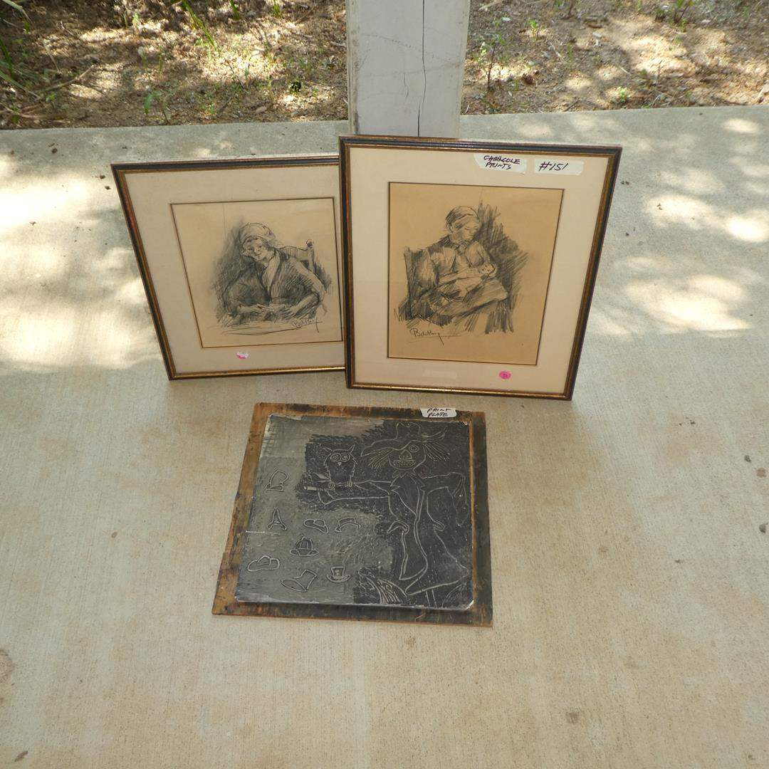 Lot # 151 - Halloween Scarecrow Print Plate & Two Framed Signed Charcoal Drawings