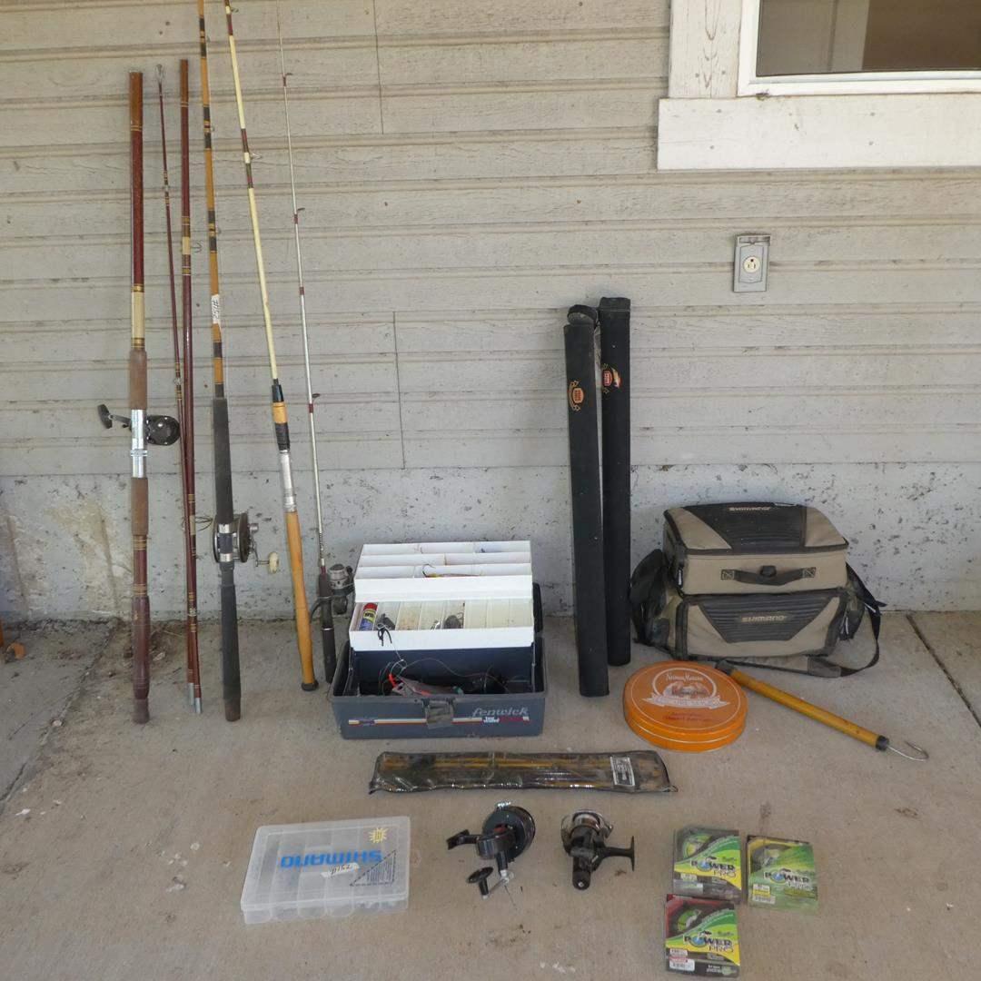 Lot # 152 - Fishing Poles, Reels, Weights, Tackleboxes & Fishing Line (main image)