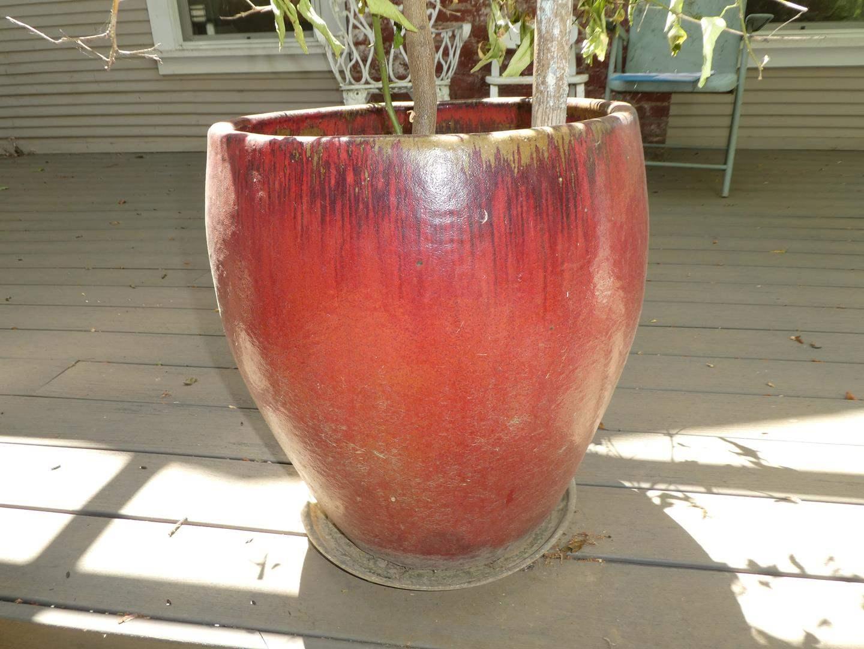 Lot # 161 - Red Glazed Pottery Planter