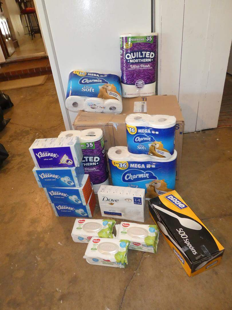 Lot # 165 - Toilet Paper, Kleenex, Dove Soap, Baby Wipes & Plastic Spoons