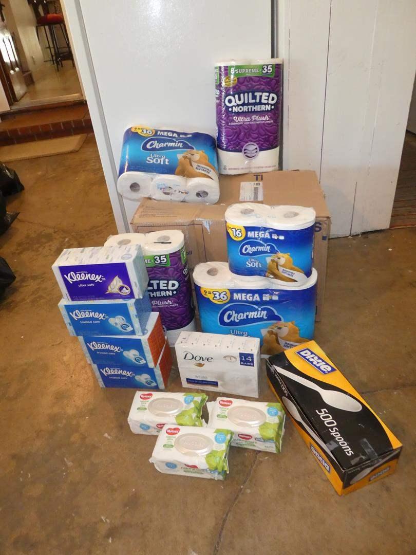 Lot # 165 - Toilet Paper, Kleenex, Dove Soap, Baby Wipes & Plastic Spoons (main image)