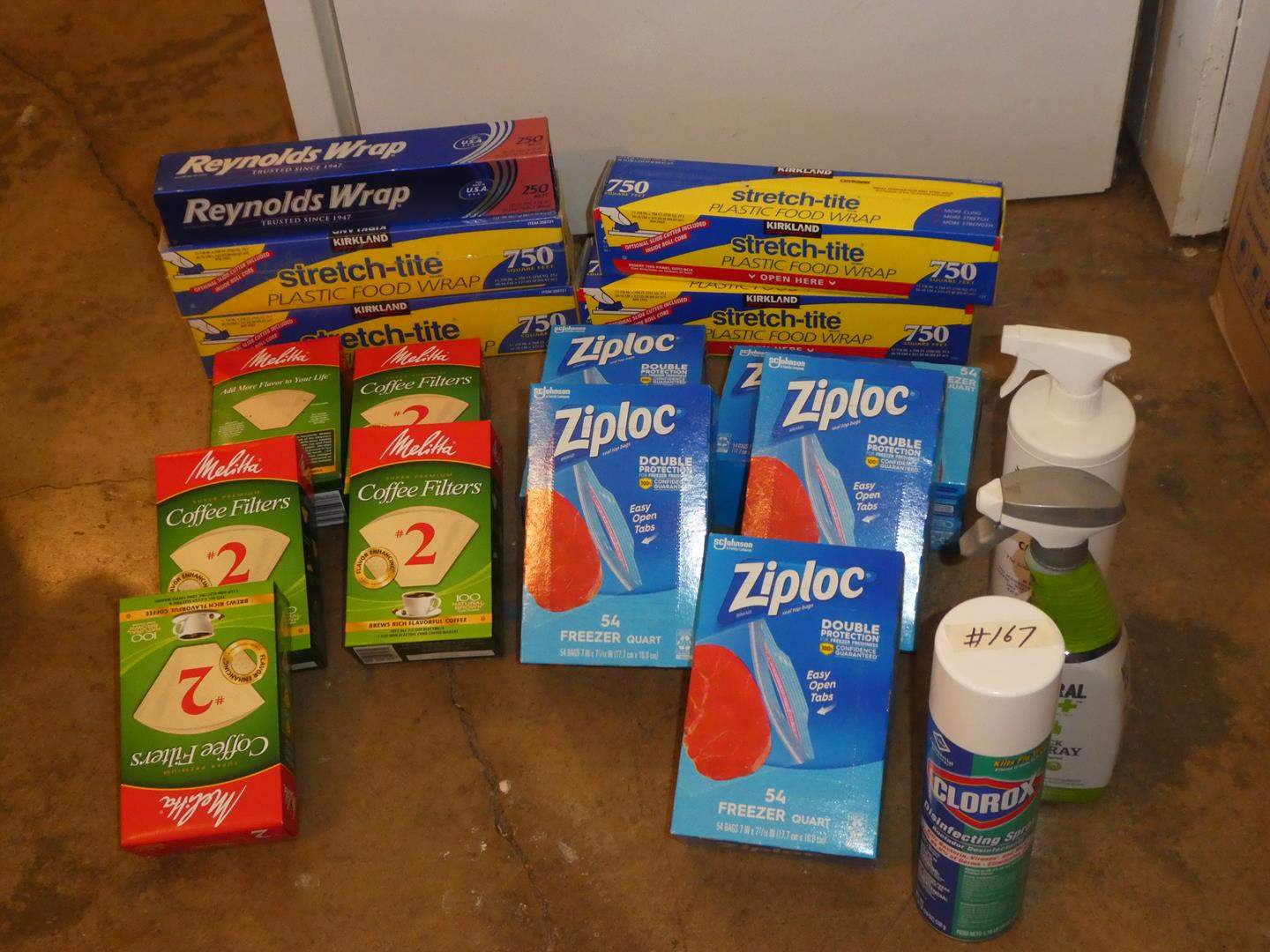 Lot # 167 - Coffee Filters, Reynolds Wrap, Stretch-Tite, Zip Lock Bags & Cleaning Supplies