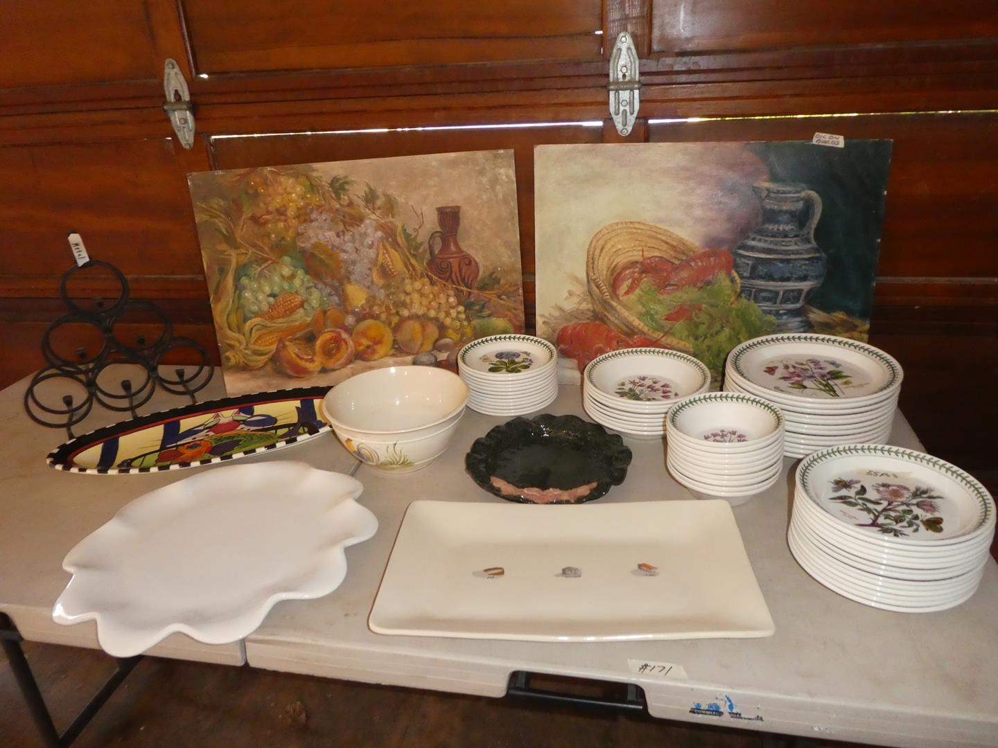 Lot # 171 - Small Wine Rack, Two Oil on Board Paintings, Platters & Botanic Garden Dishes 55 Pieces Made in Britain (main image)
