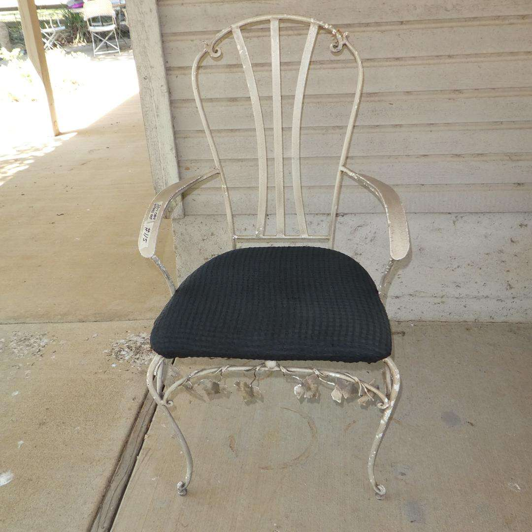 Lot # 115 - Vintage Ornate White Iron Chair w/Padded Seat