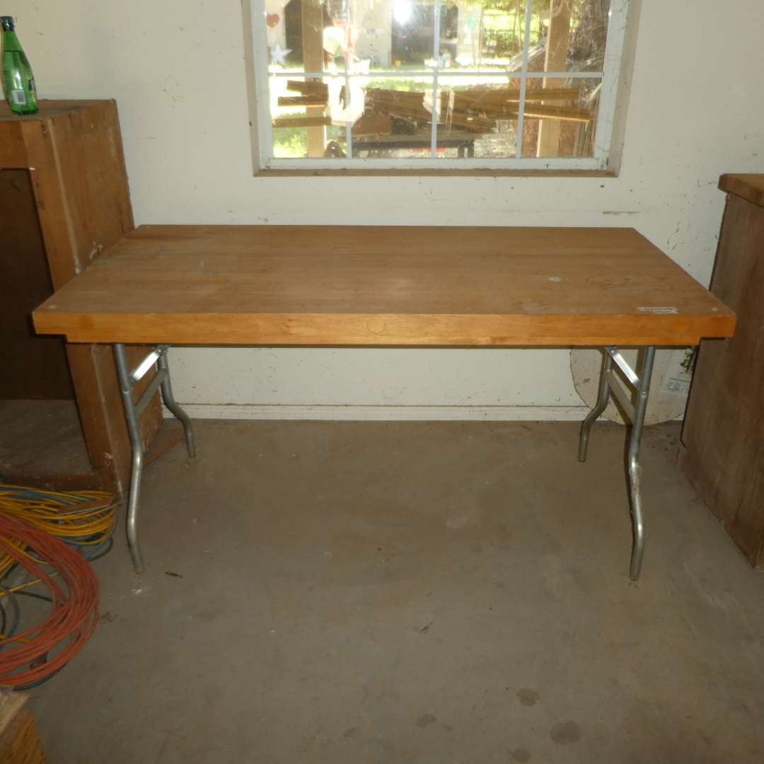 """Lot # 259 - 5 Ft.Folding Table (Top is 2"""" Solid Wood, Butcher Block Style)"""