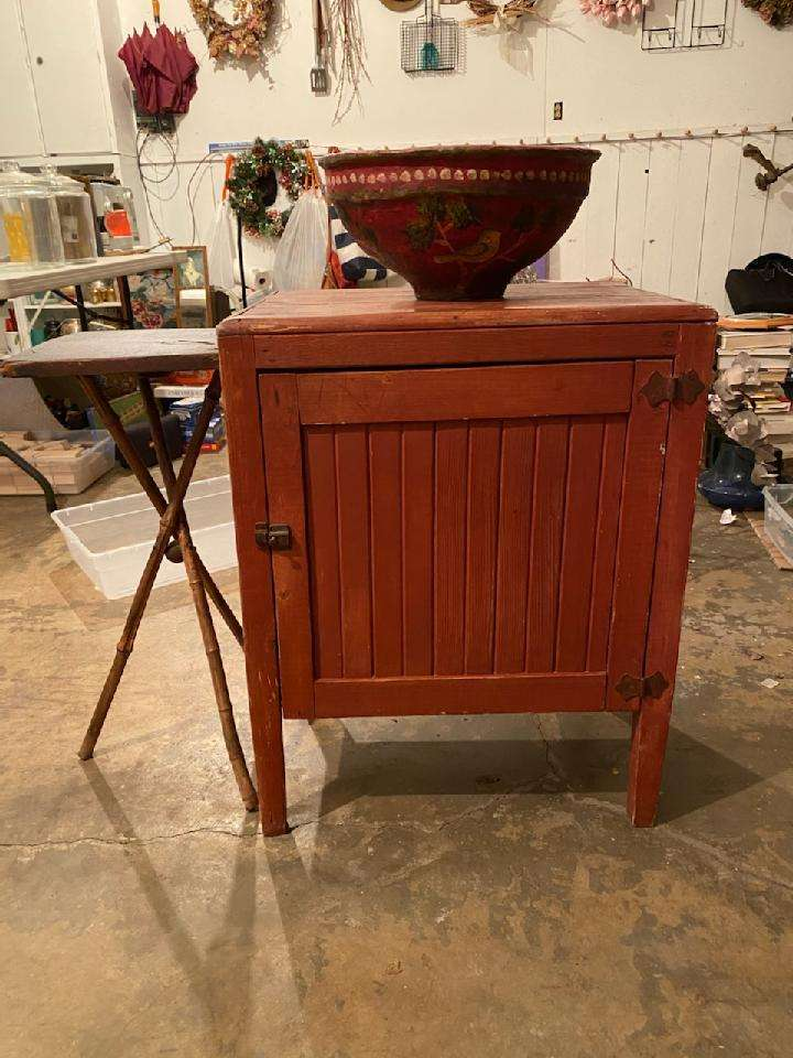 Lot# 269 -  Country Style Cabinet & Large Bowl