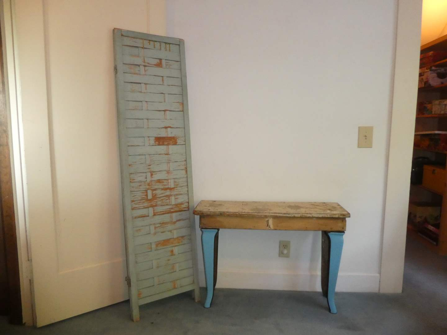 Lot # 1 - Vintage Accent Table w/ Metal Legs and Two Panel Shabby Chic Room Divider (main image)