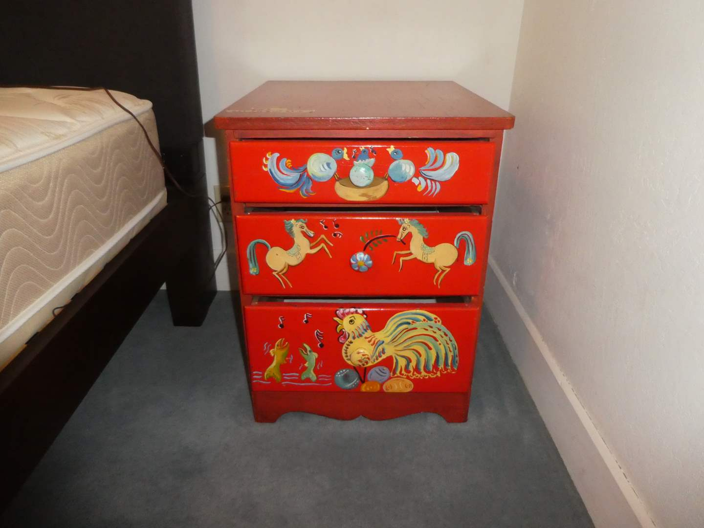 Lot # 4 - Adorable Hand Painted Side Table/Nightstand (main image)