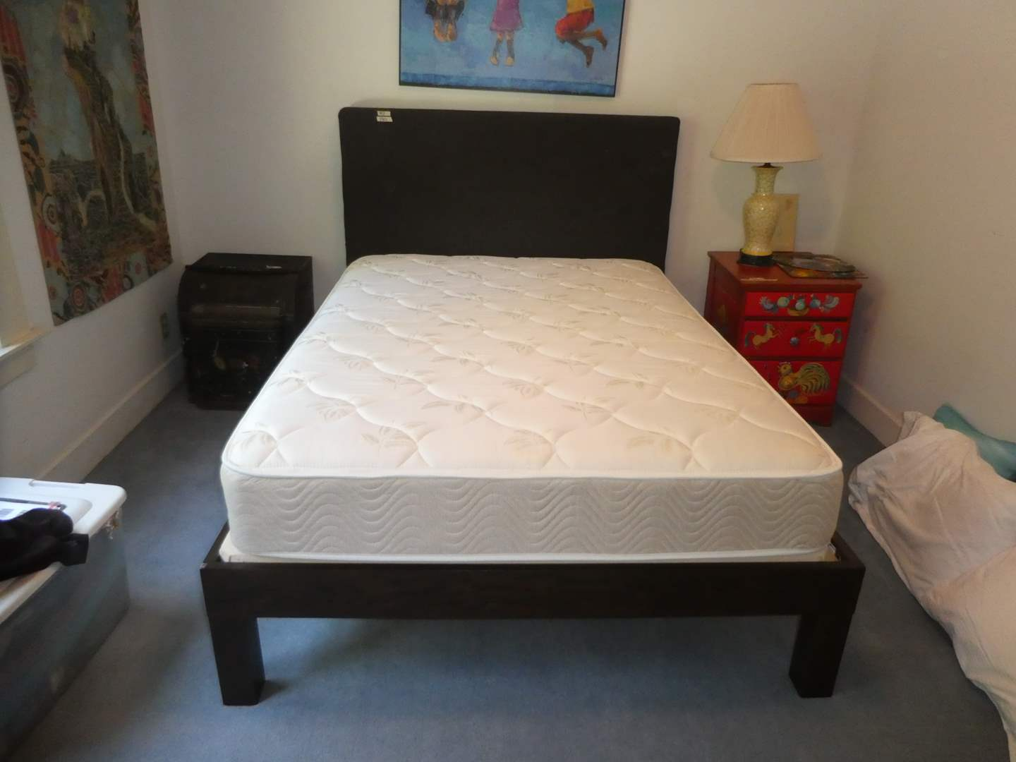 Lot # 5 - Nice Clean Mattress and Box Spring w/ Fame, Upholstered Headboard and Bedding(Located Upstairs Please Bring Help)