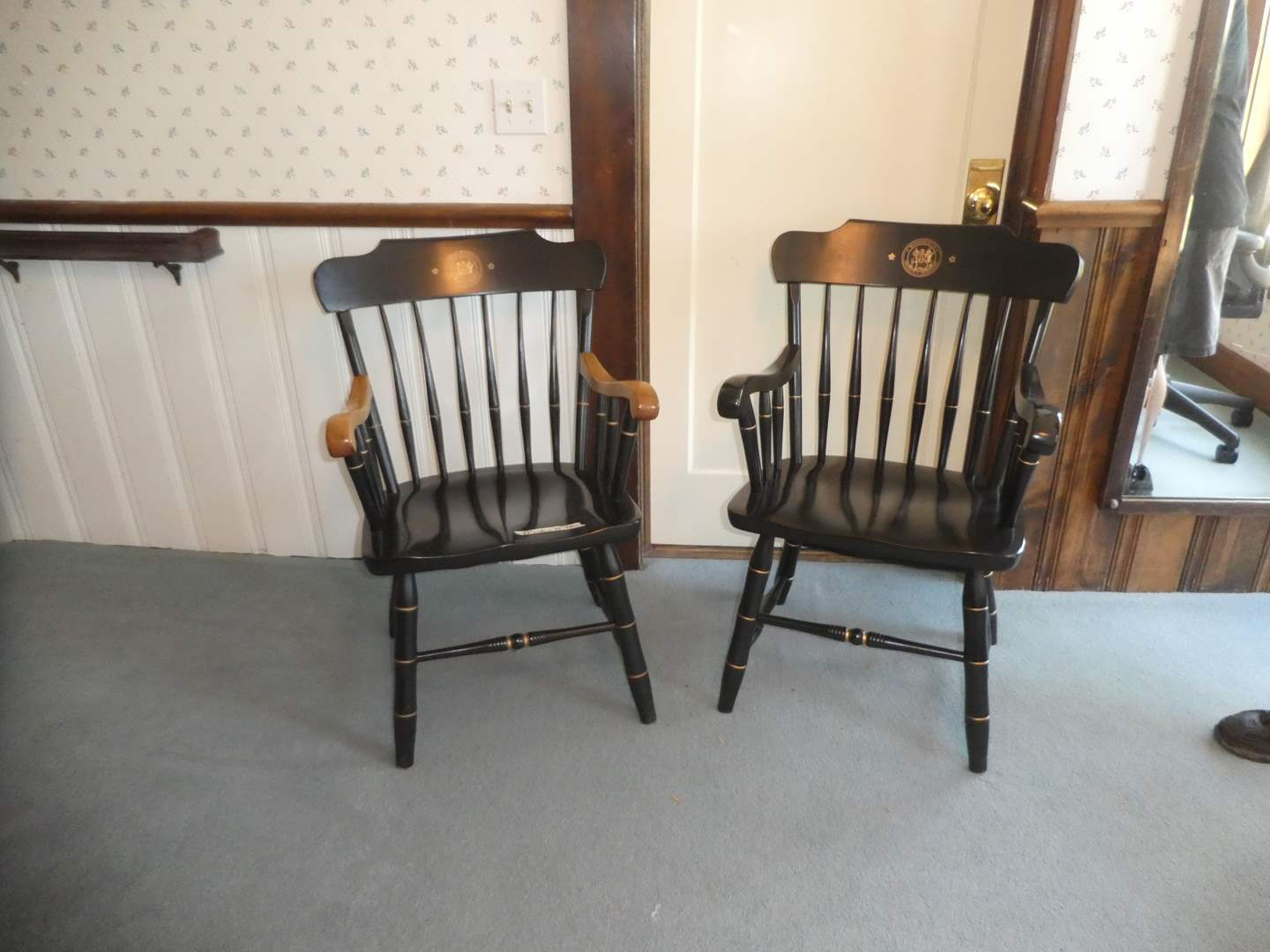 """Lot # 6 - Two MIT """"Massachusetts Institute of Technology"""" S. Bent and Bros Captain Chairs  (main image)"""