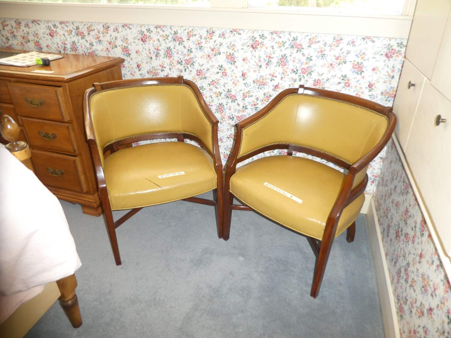 Lot # 10 - Pair of Adorable Vintage Leather Accent Chairs w/ Nailed Trim Details  (main image)
