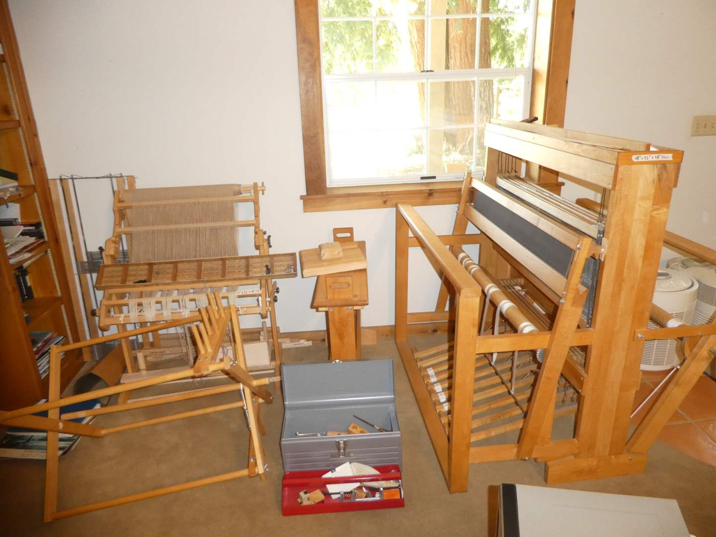 Lot # 205 - Two Looms, Accessories, Materials and Books (Schact Spindle & Harrisville Designs)
