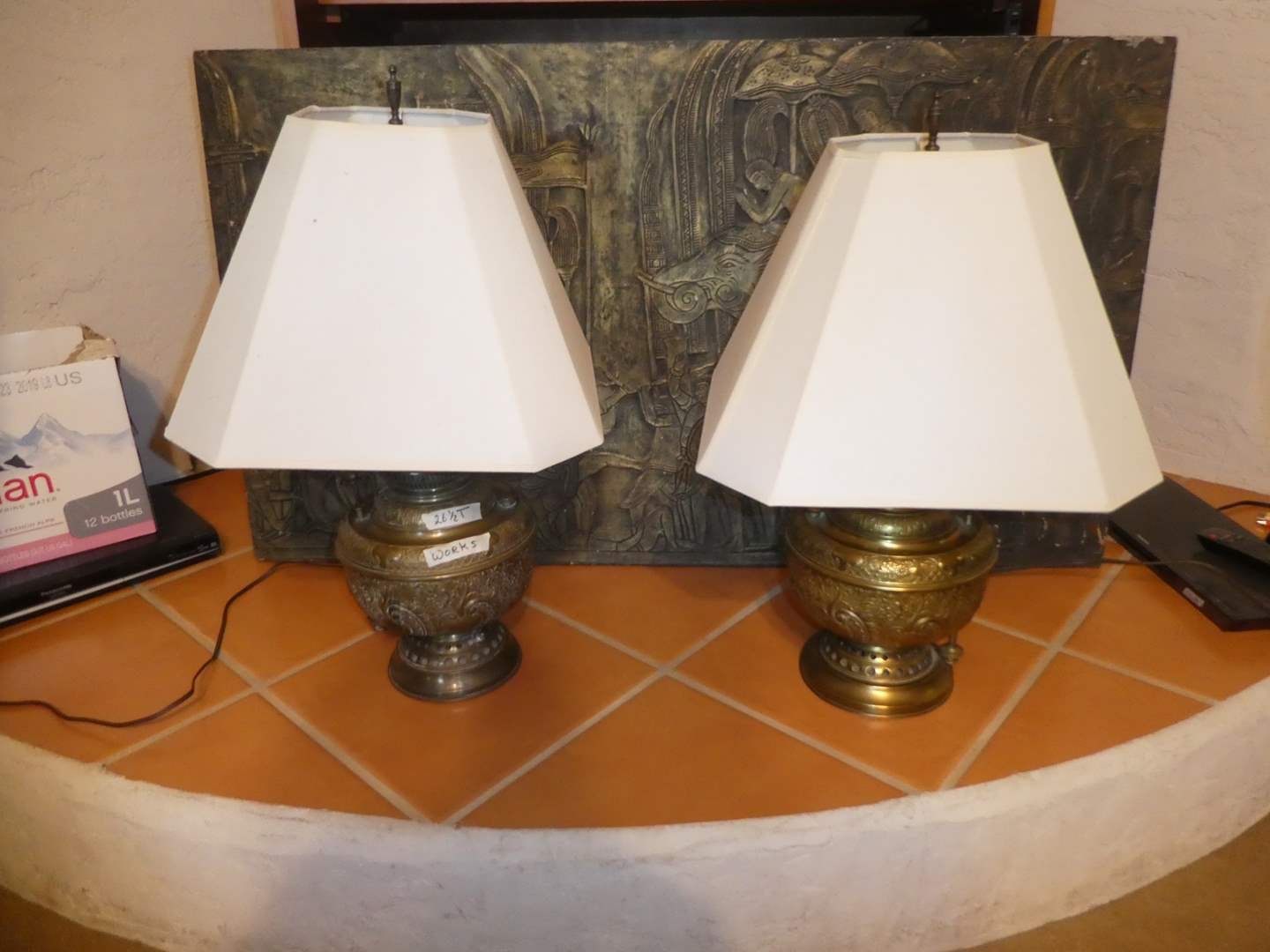 Lot # 207 - Two Ornate Brass Table Lamps and a Large Siam Art (main image)