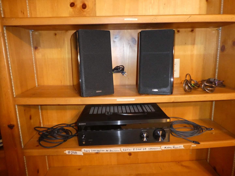 Lot # 208 - Sony STRDH950 AV Receiver(Missing Remote) And Edifier R2000 DB Speakers