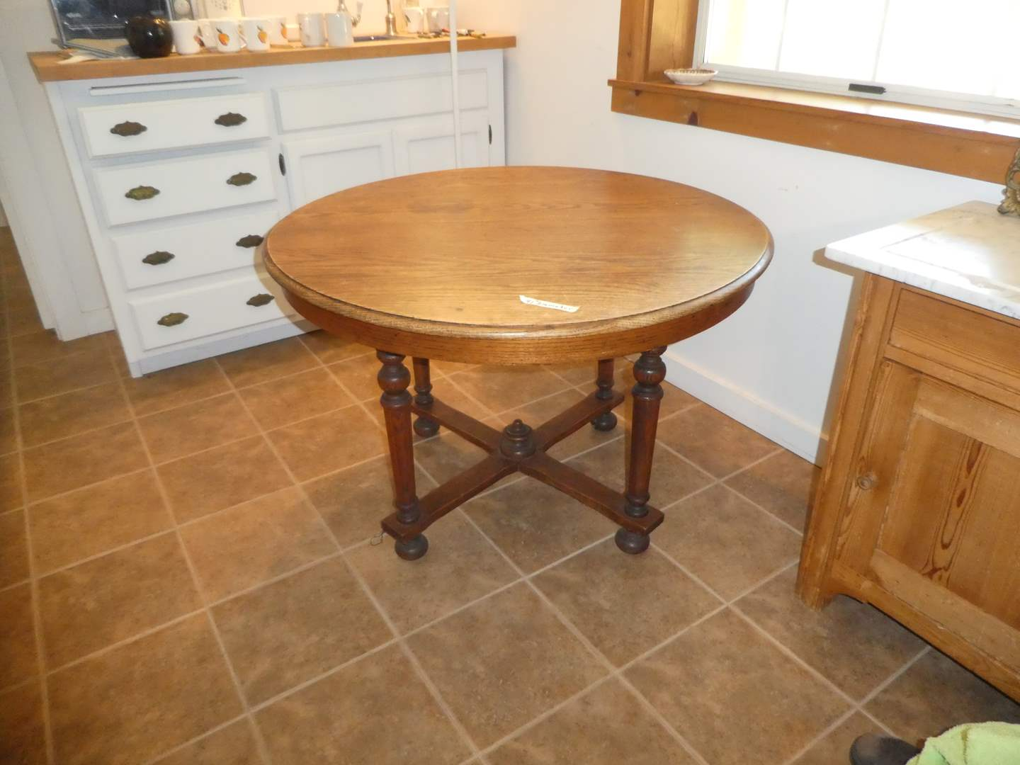 Lot # 211 - Solid Wood Round Dining Table
