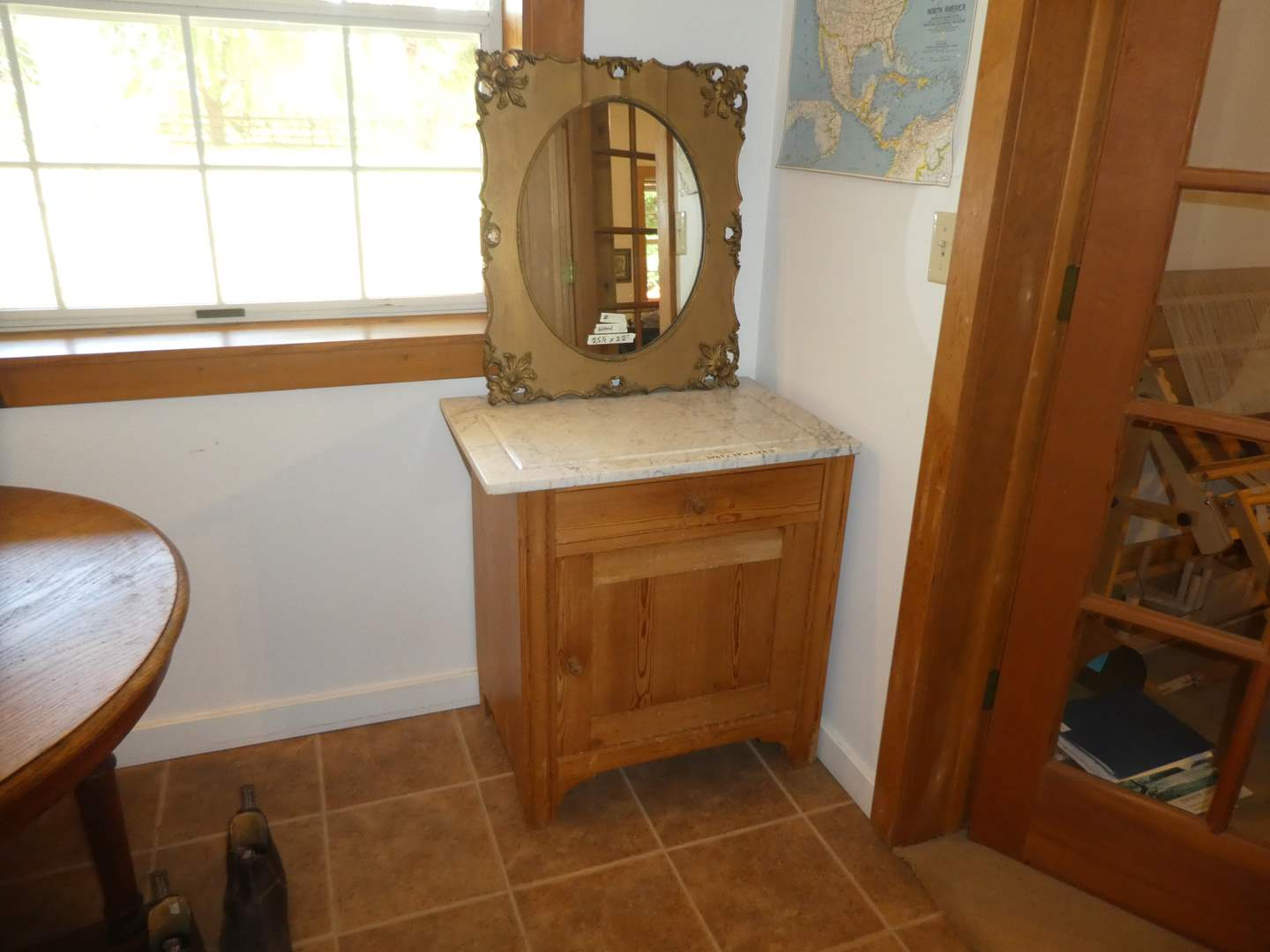 Lot # 212 - Vintage Farmhouse Cabinet w/ Marble Top(Dovetail Drawers) & Vintage Wood Mirror  (main image)