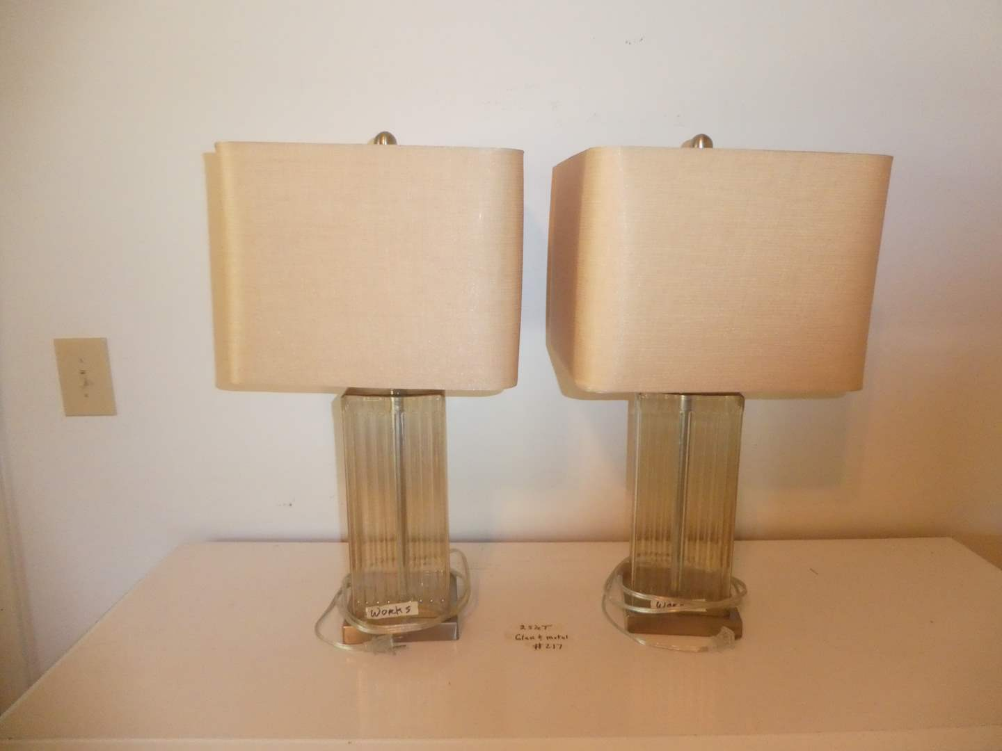 Lot # 217 - Pair of Glass and Metal Table Lamps (Shades Are a Champagne Color)