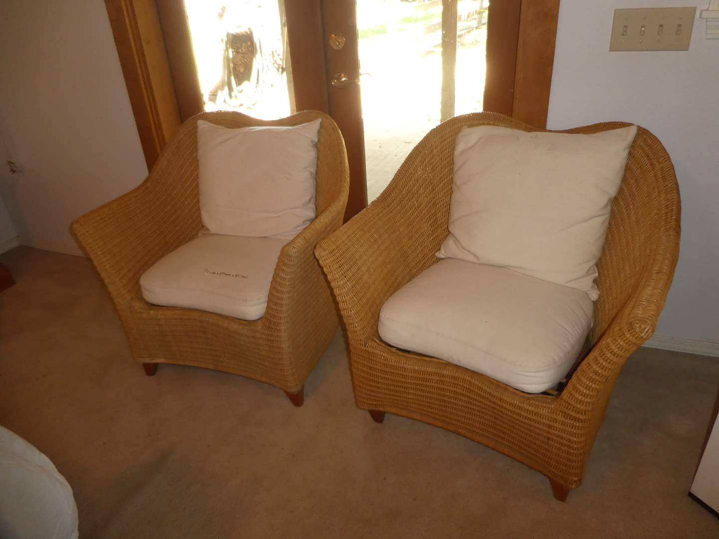 Lot # 218 - Pair of Unique Quality Wicker Rapped Rattan Chairs (main image)