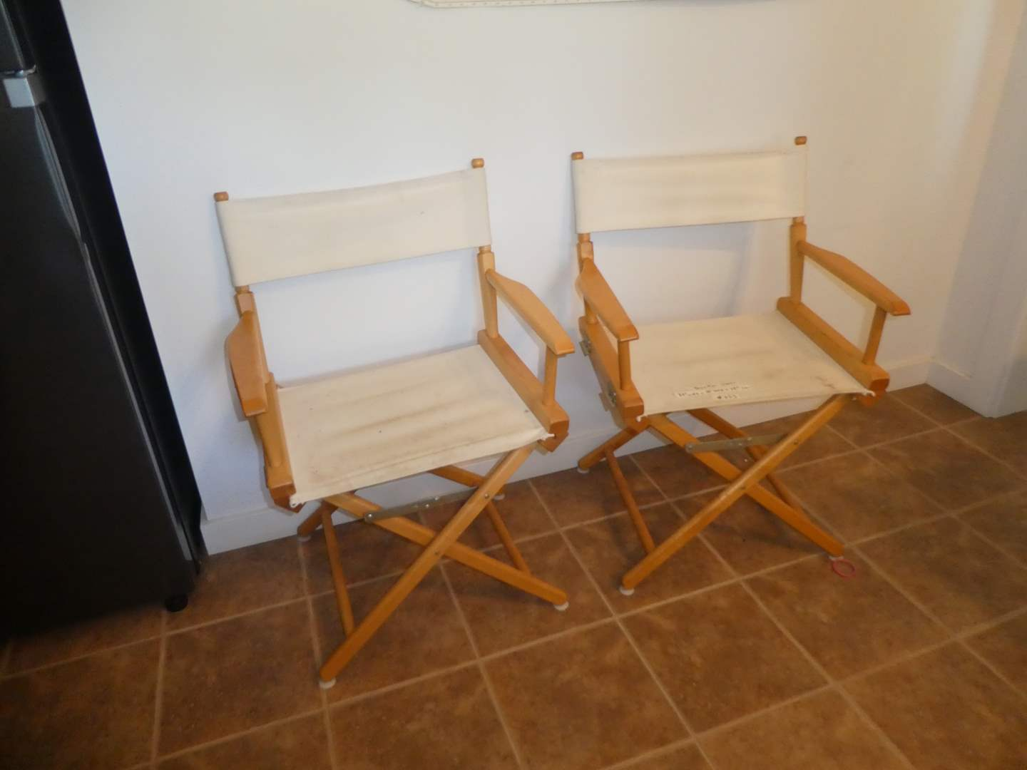 Lot # 223 - Two Telescope Casual World Famous Dining Height Director Chair, Natural with Varnish Frame(Needs Cleaning)