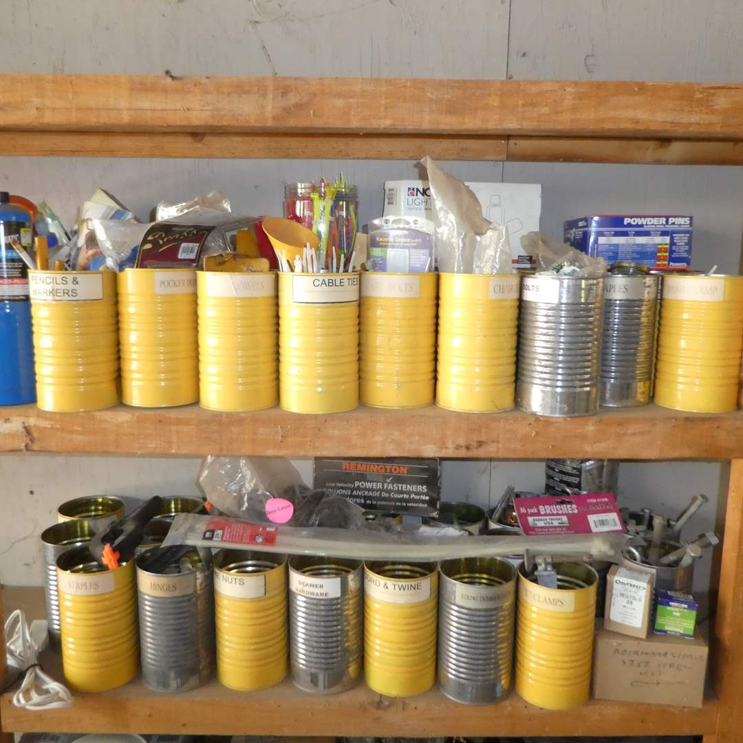 Lot # 234 -  Misc. Hardware Lot In Tin Cans ( Screws, Nuts, Bolts,Tools and More)