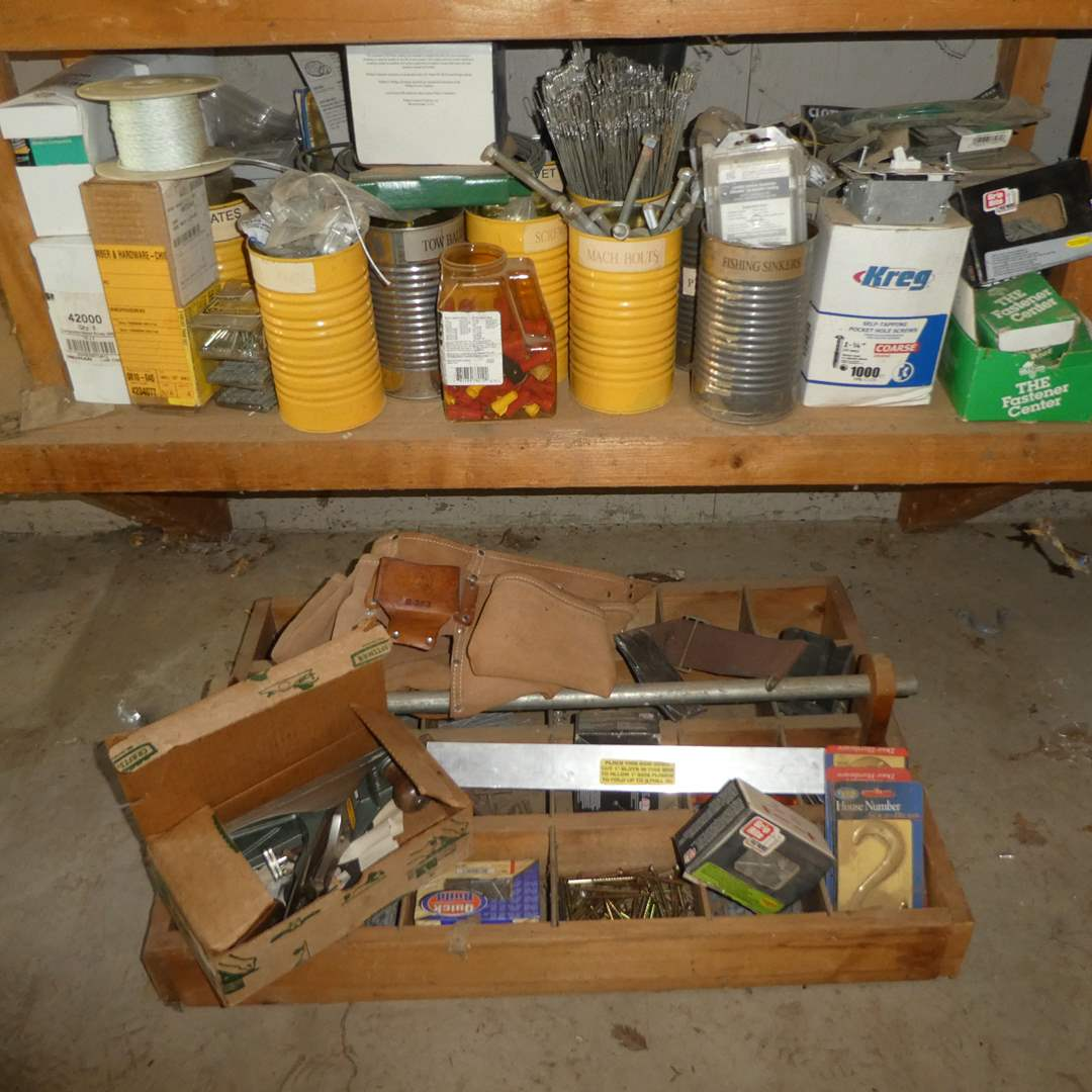 Lot # 235 - Misc. Hardware Lot In Tin Cans w/ Wooden Hardware Organizer and Craftsman Plane & More