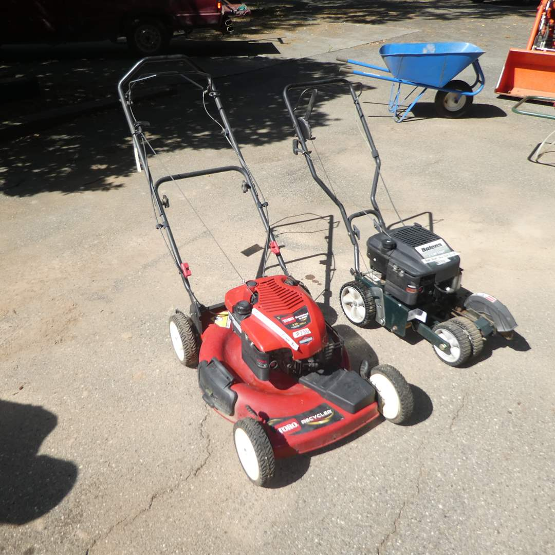 Lot # 236 - Toro Recycler Lawn Mower 190cc (Runs, Need New Fuel Primer Bulb) and Bolens 3.5 HP  Edger(Runs, Needs New Fuel Line) (main image)