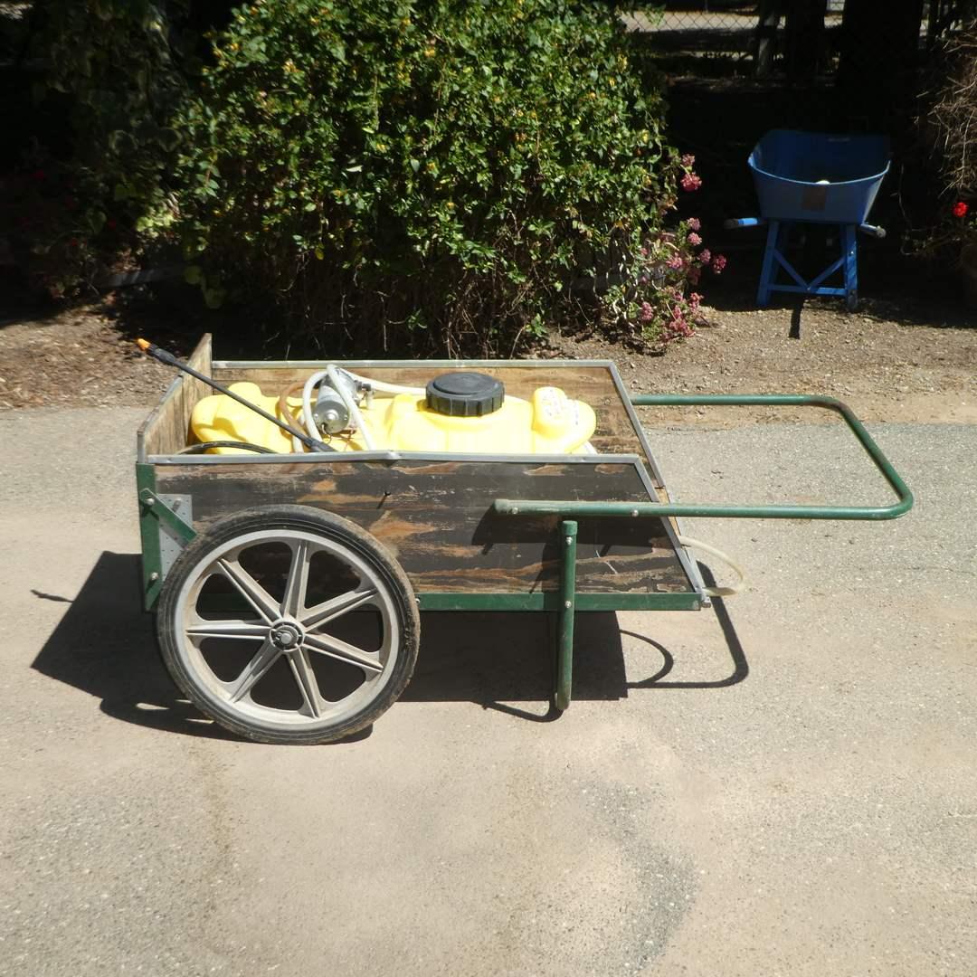 Lot # 241 -12v. Spray Tank and Cart (Tank Full) (Was Used to Spray Orchard) (main image)