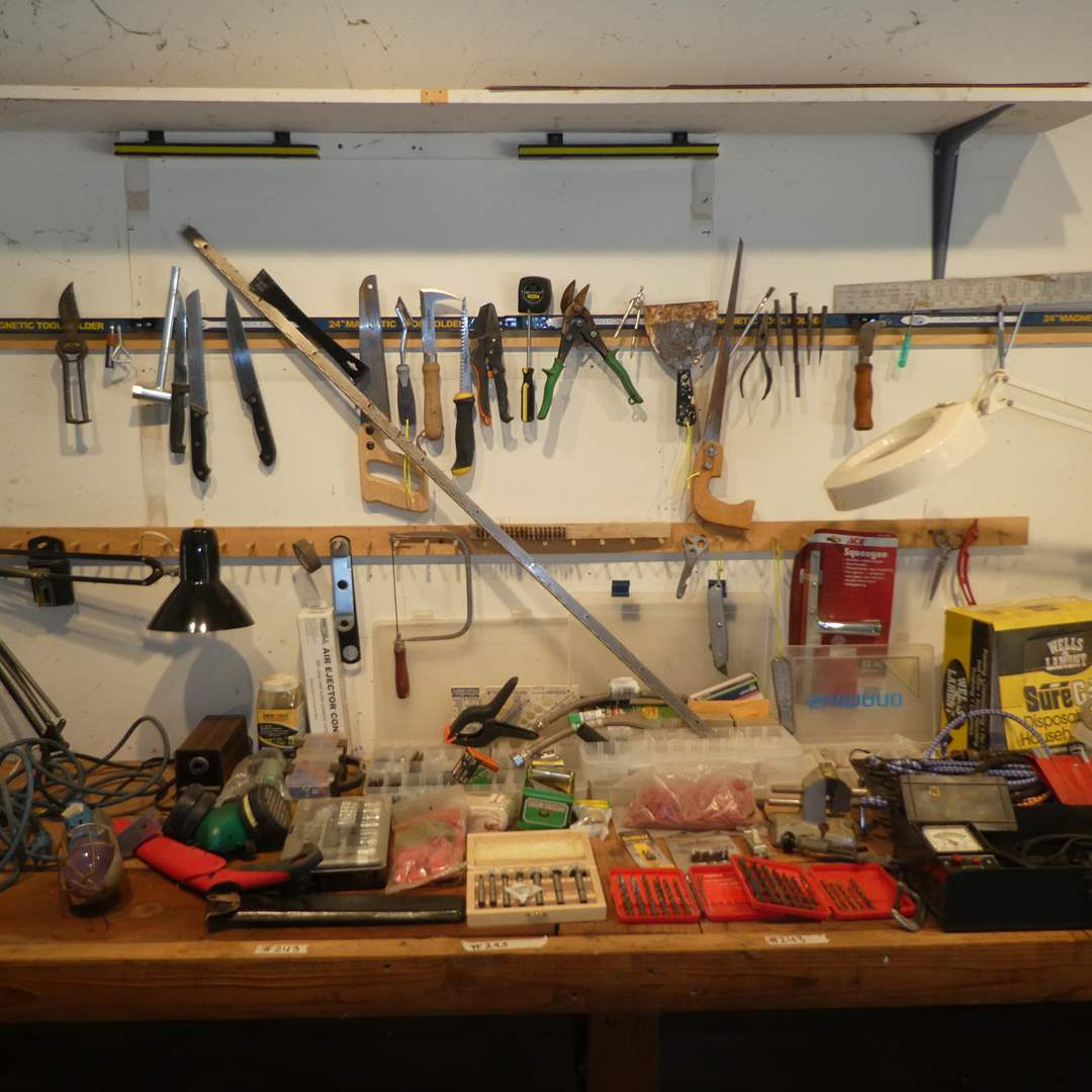 Lot # 243 - Misc. Work Shop Lot (Drill Bits, Small Saws, Work Bench Light w/ Magnifying Glass, Hardware and More) (main image)