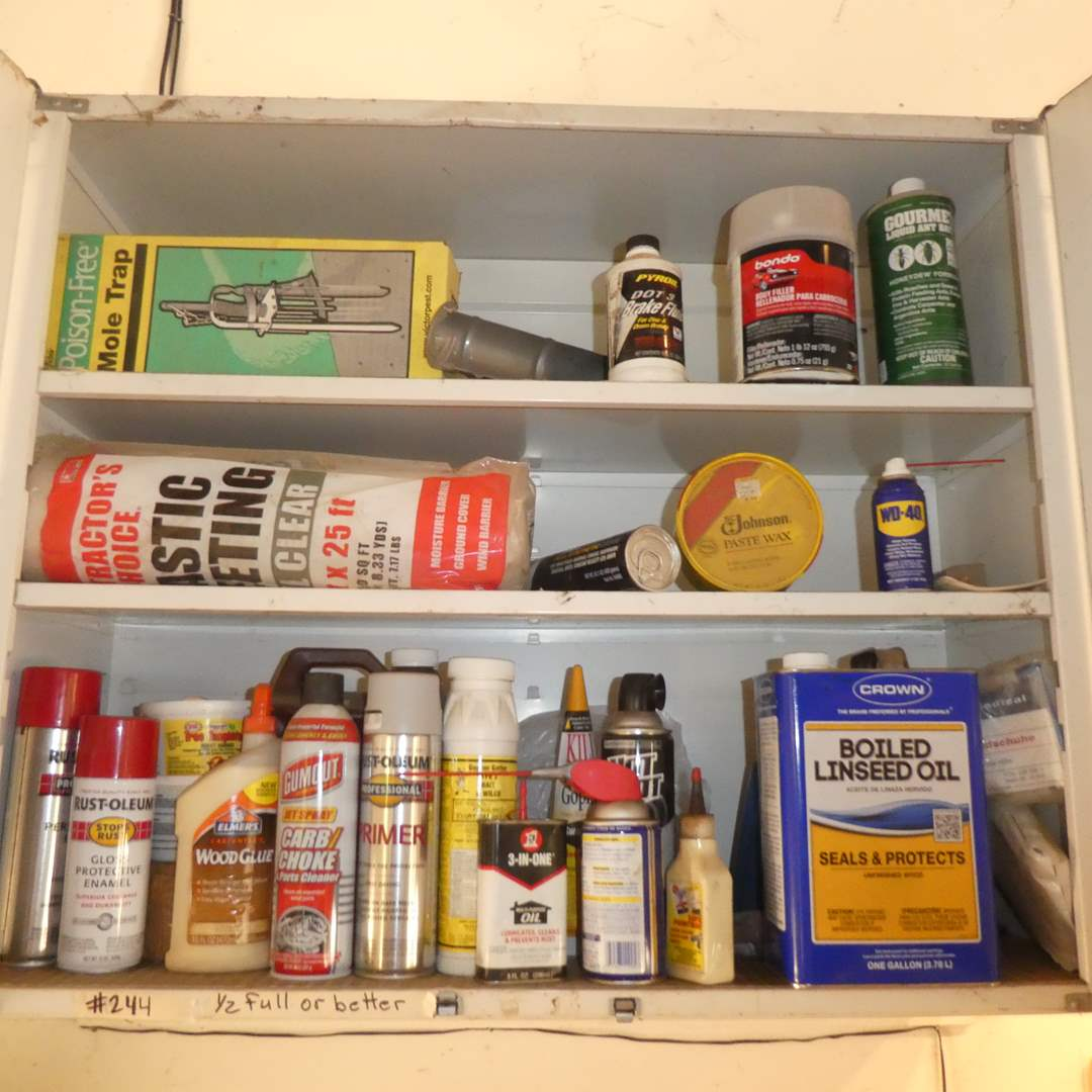 Lot # 244 - Variety of Chemicals- Enamel, Carb Choke, Primer, Wood Preserver, Gopher Bait, Mole Trap, WD-40 and More)
