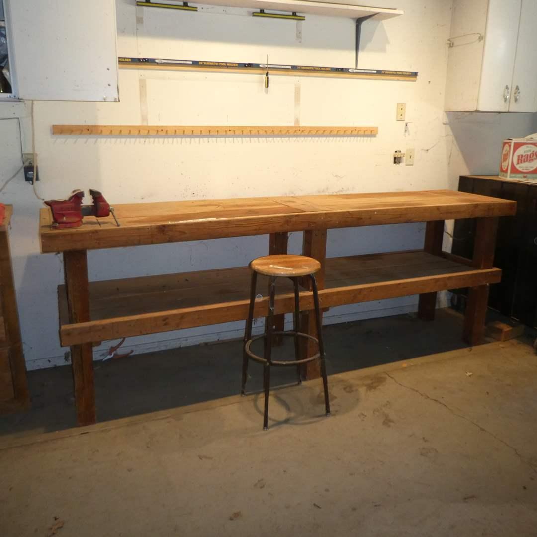 Lot # 245 -Large Handmade Work Bench, Craftsman Vise and Stool (Metal Base, Wood Top)