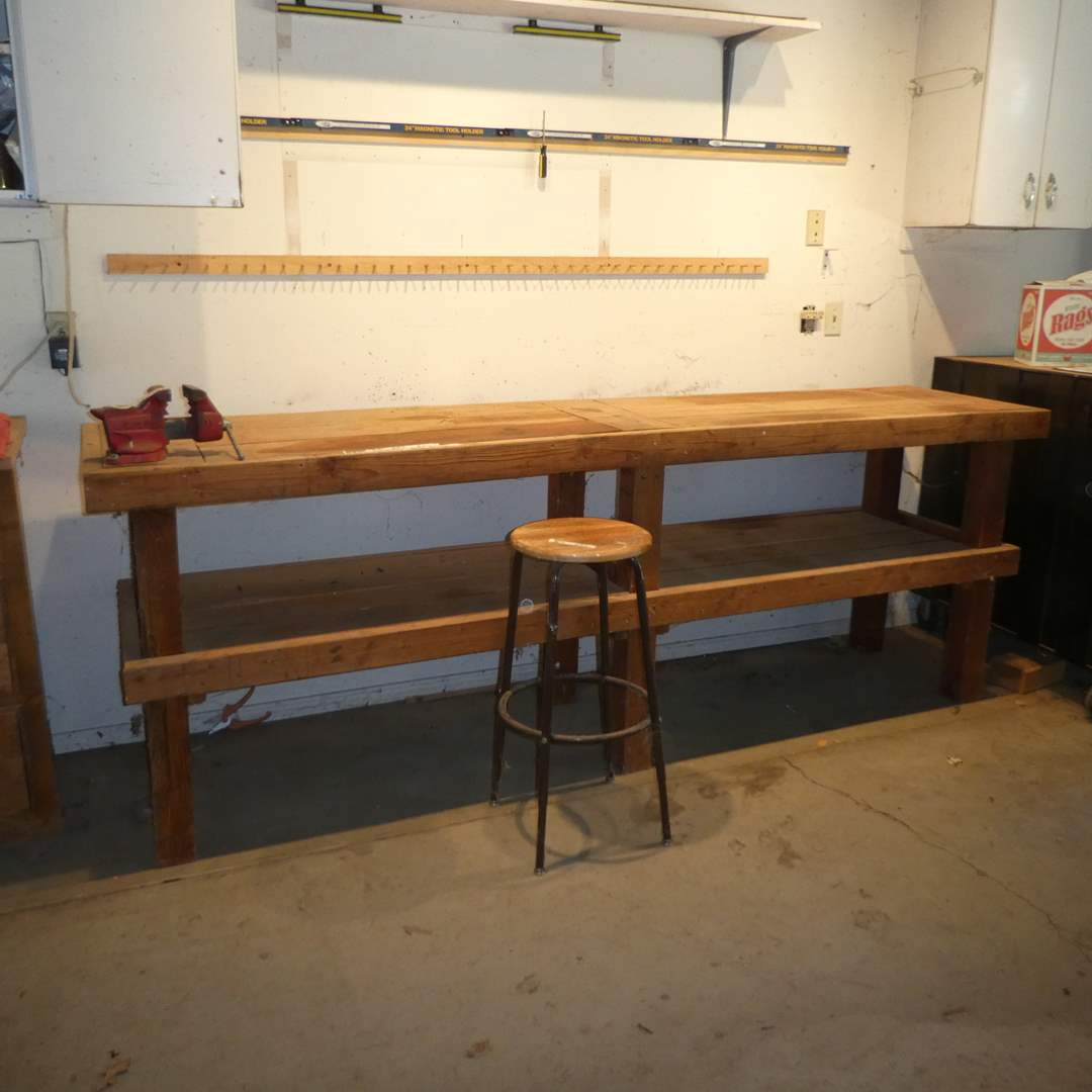 Lot # 245 -Large Handmade Work Bench, Craftsman Vise and Stool (Metal Base, Wood Top) (main image)