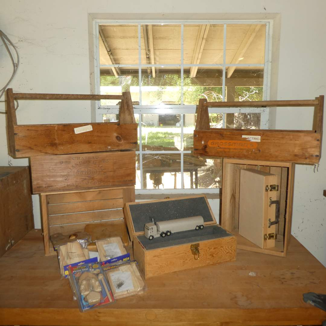 Lot # 246 -Wooden Crates and Tool Totes, Craft Boxes, Hand Made Take Truck and Bird House Kits (main image)
