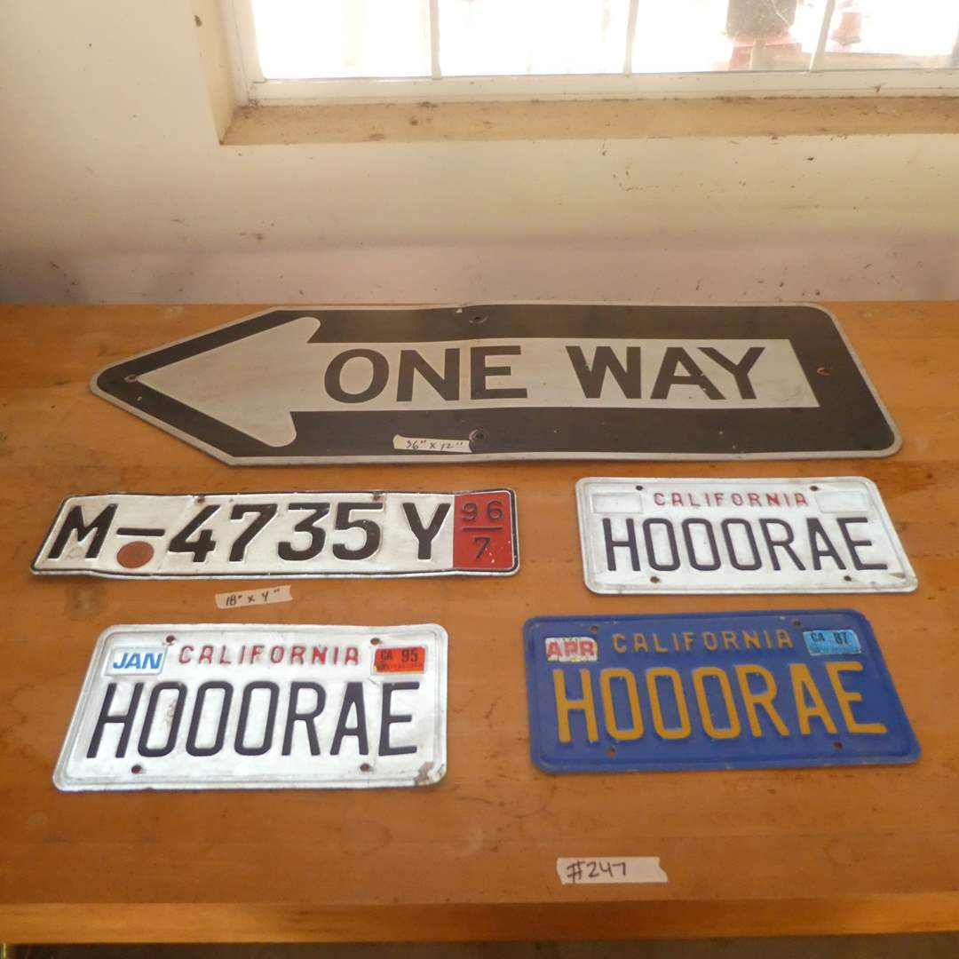 Lot # 247 - Three Licenses Plate (H000RAE), Metal One Way Sign and  Metal Sign (M-4735Y)