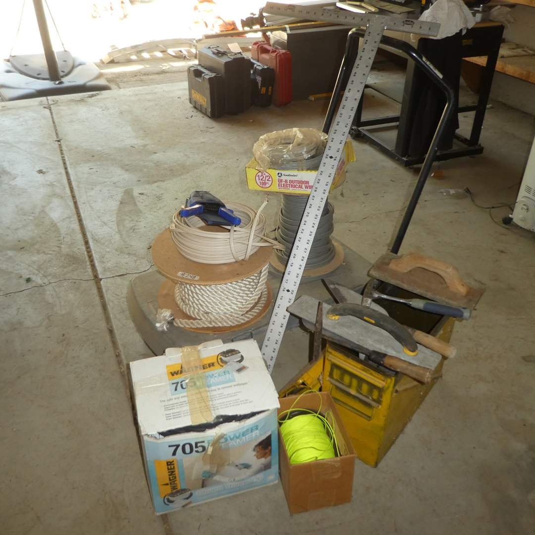 Lot # 248 -  Rubbermaid Cart, Large Metal Ammo Box, Wall Paper Steamer and Misc Rope & Wire