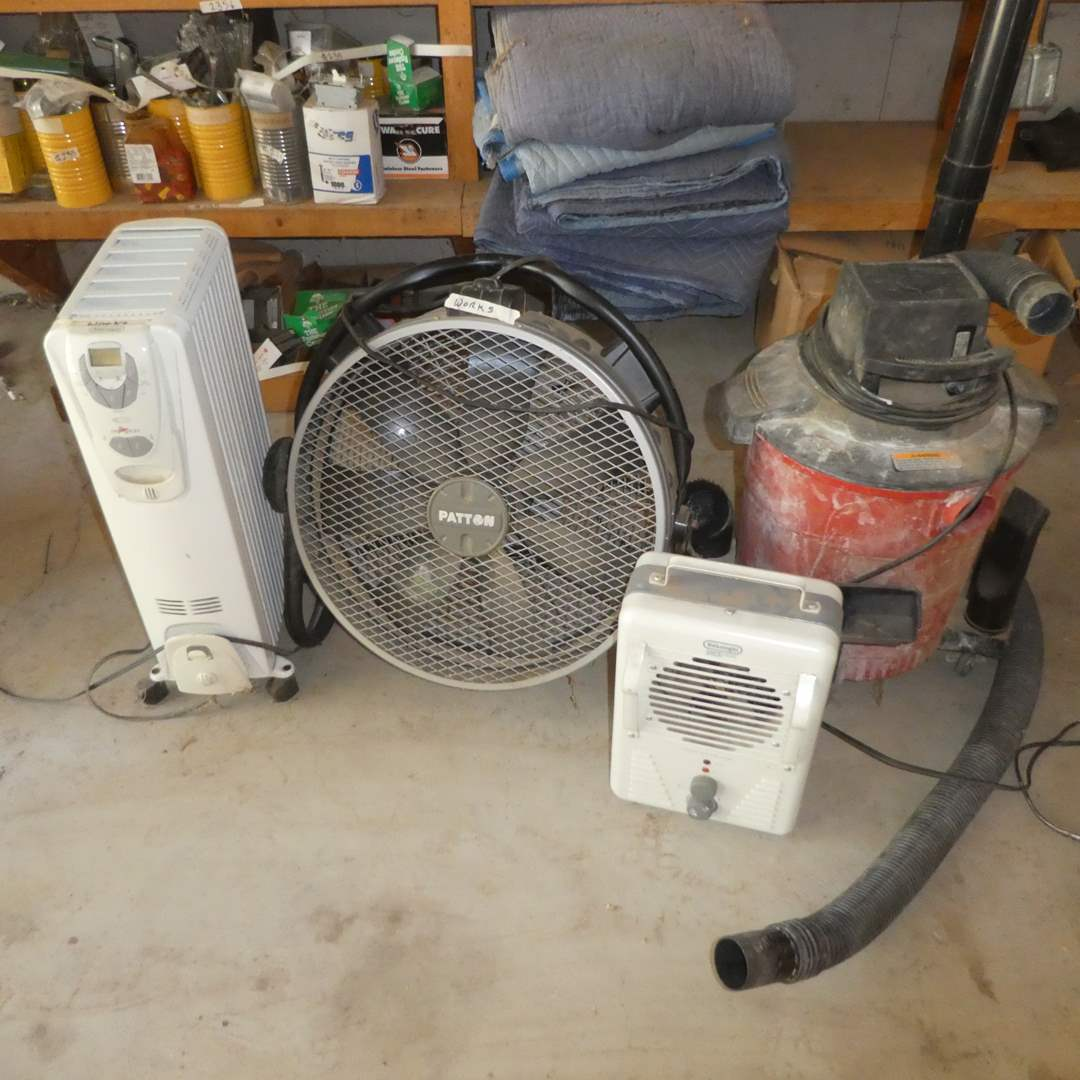 Lot # 250 - Two DeLonghi Heater, Patton Shop Fan and Craftsman Wet Dry Vac