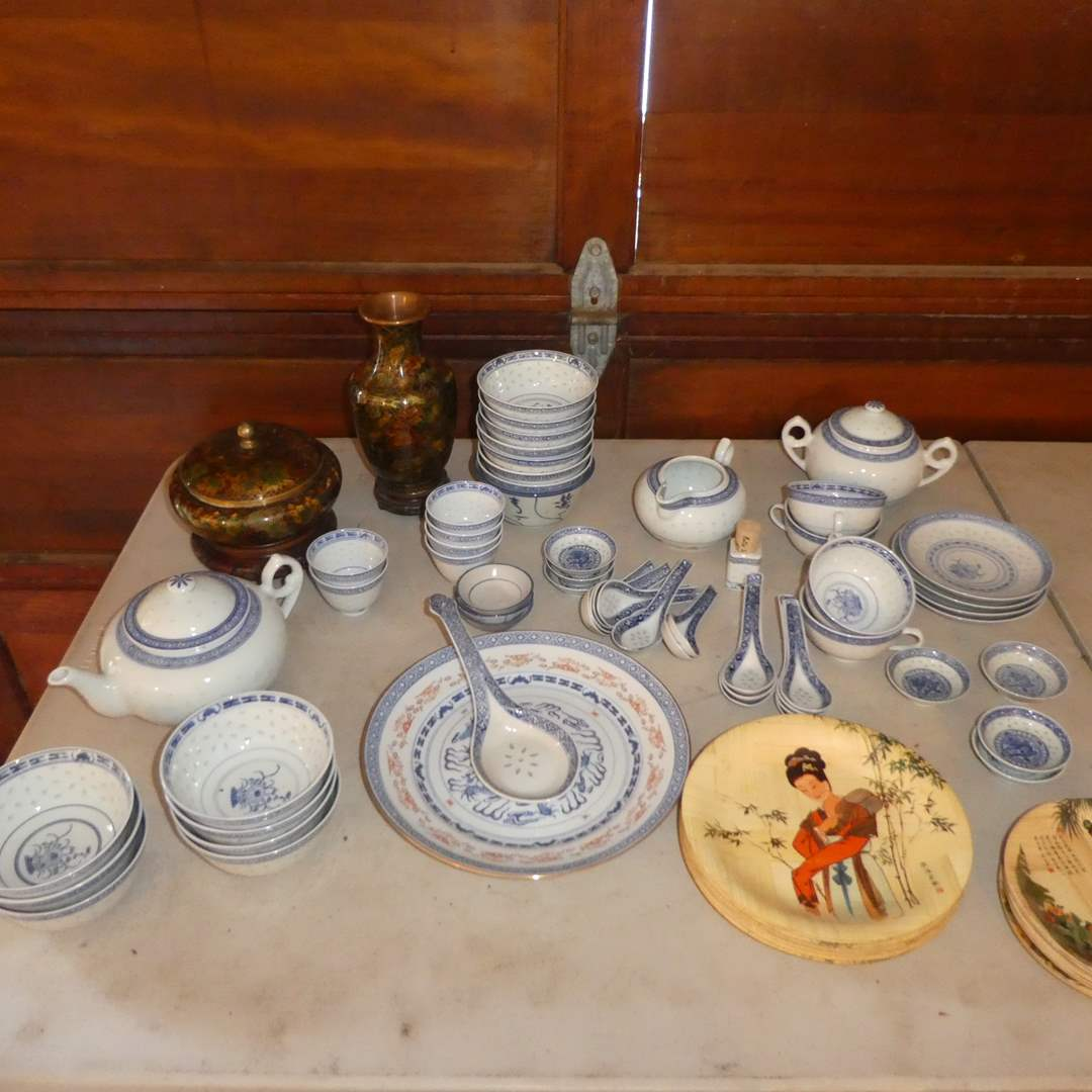 Lot # 255 -Lot of Nice Oriental Dish Ware - 2 Small Cloisone Vases w/ Lids, Miso Bowls, Spoons, Tea Cups and Bamboo Plates