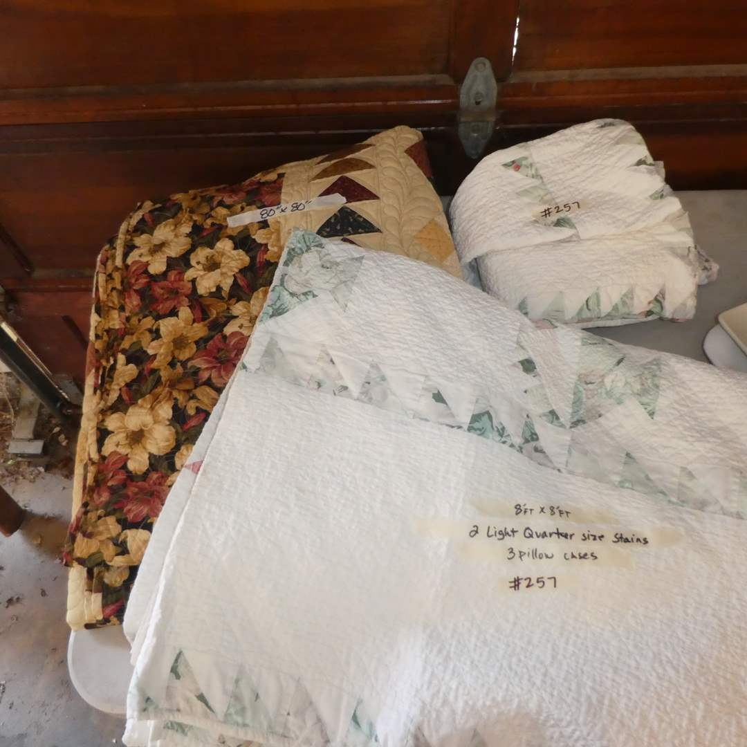 Lot # 257 - Three Quilts and Three Pillow Cases (See Photos For Sizes)