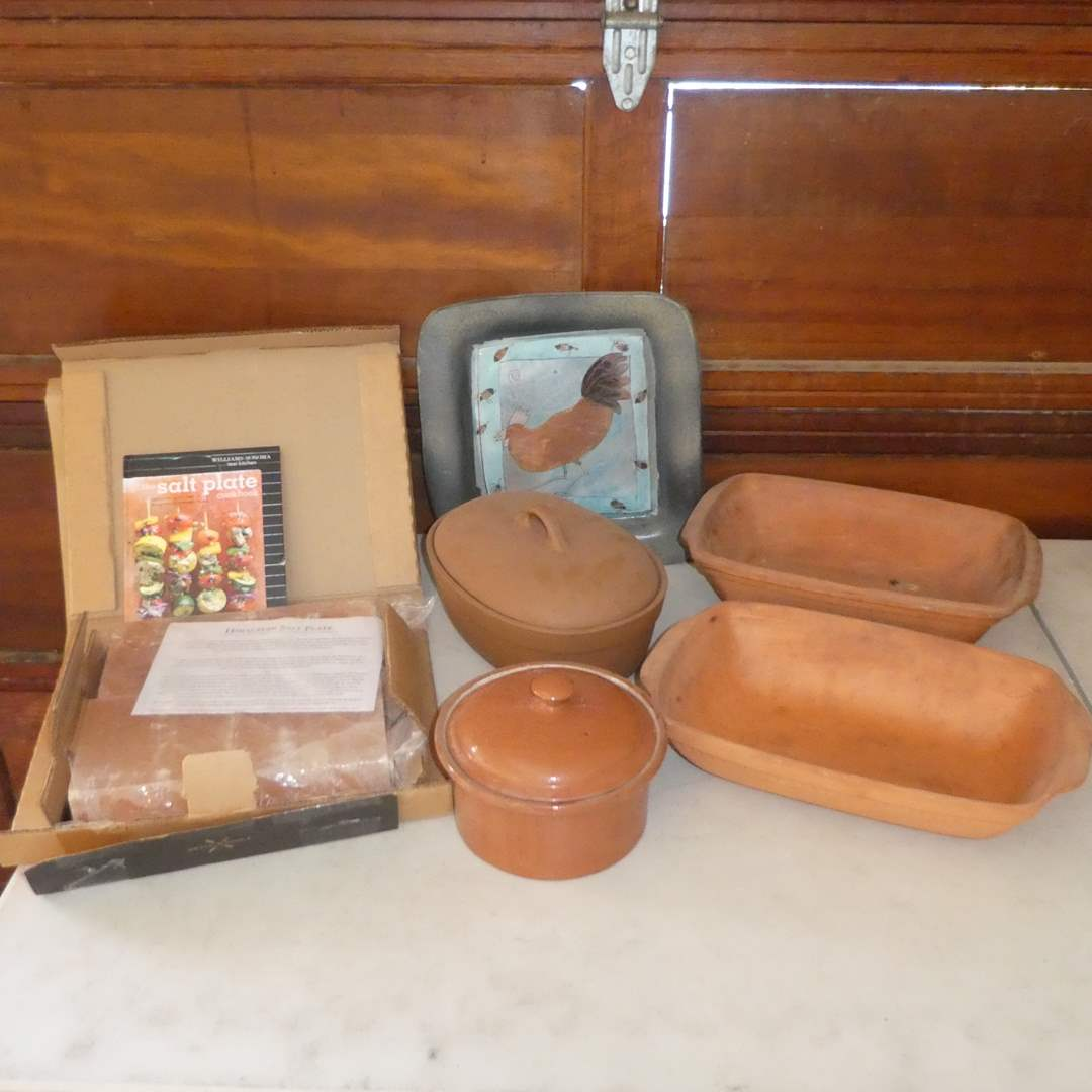 Lot # 258 - Williams Sonoma Himalayan Salt Plate, Terracotta Baking Dishes and More