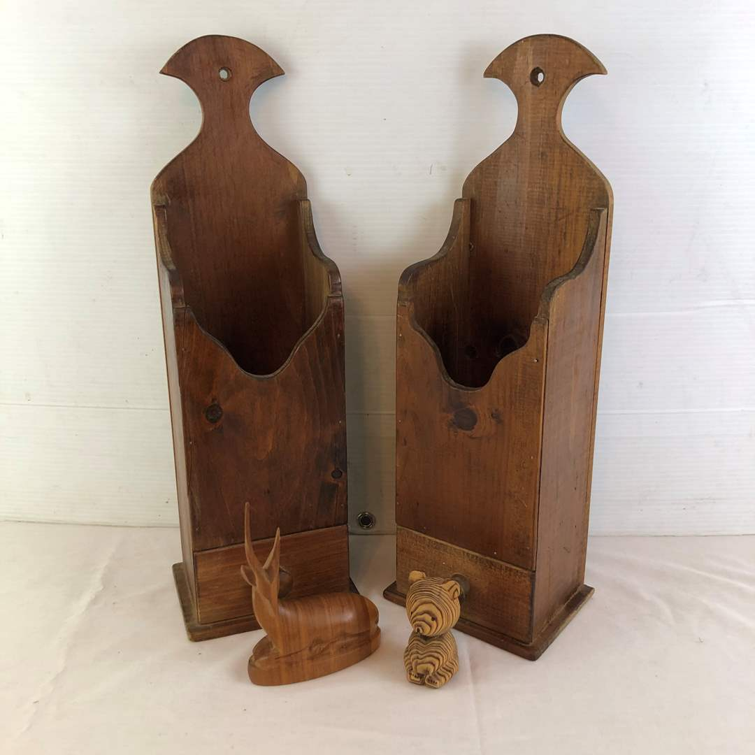 Lot # 13 - Wood Match Stick Holders And Wood Figurines