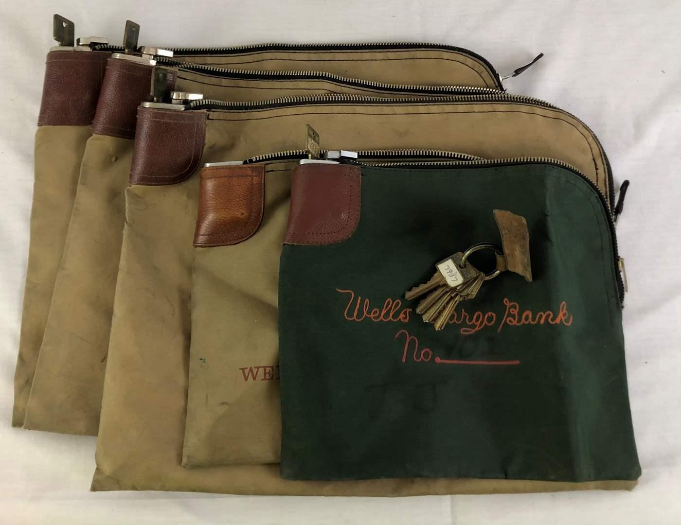 Lot # 20 - 5 Vintage Canvas Money Bags (main image)