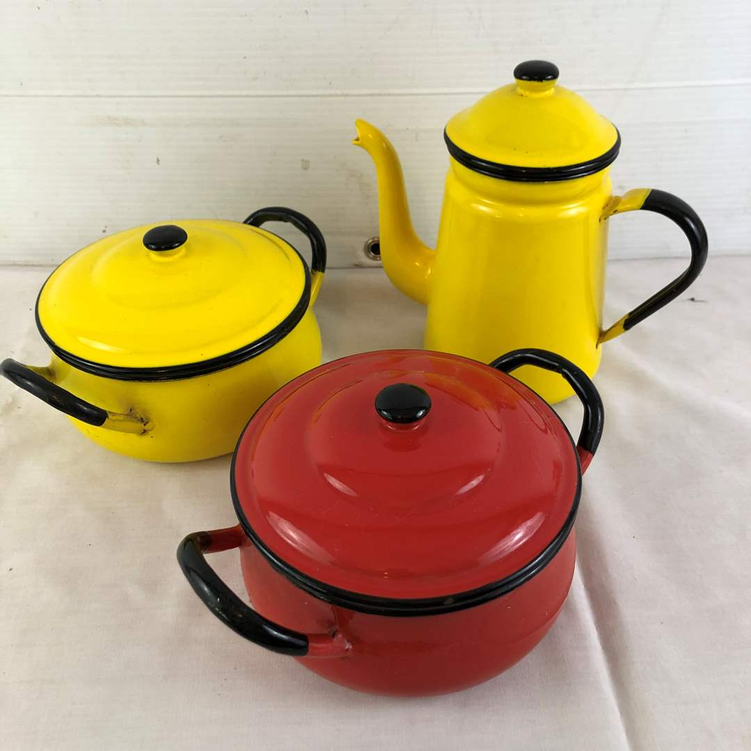 Lot # 24 - Red and Yellow Cookware (main image)